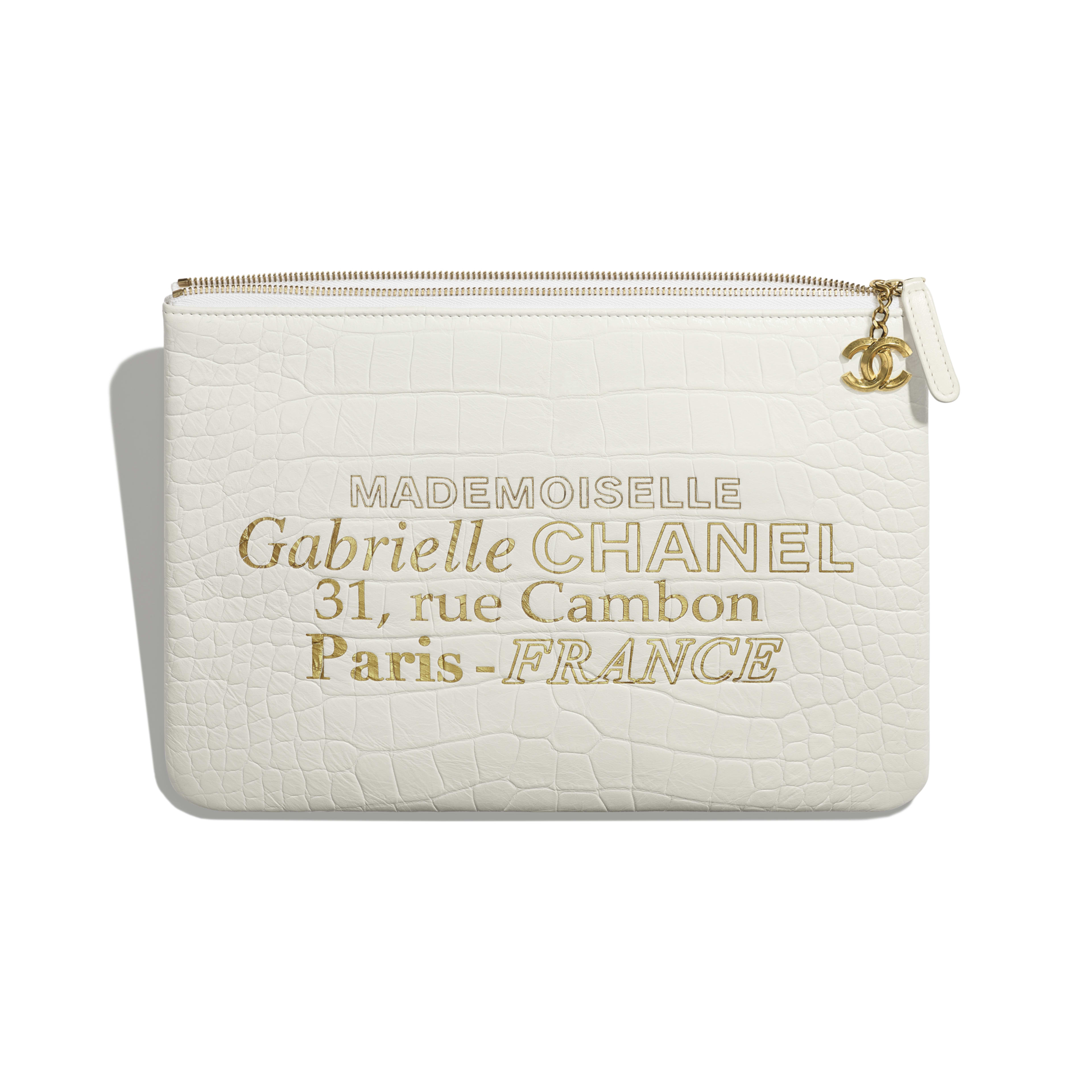 Pouch - White & Gold - Crocodile Embossed Calfskin & Gold-Tone Metal - Other view - see full sized version