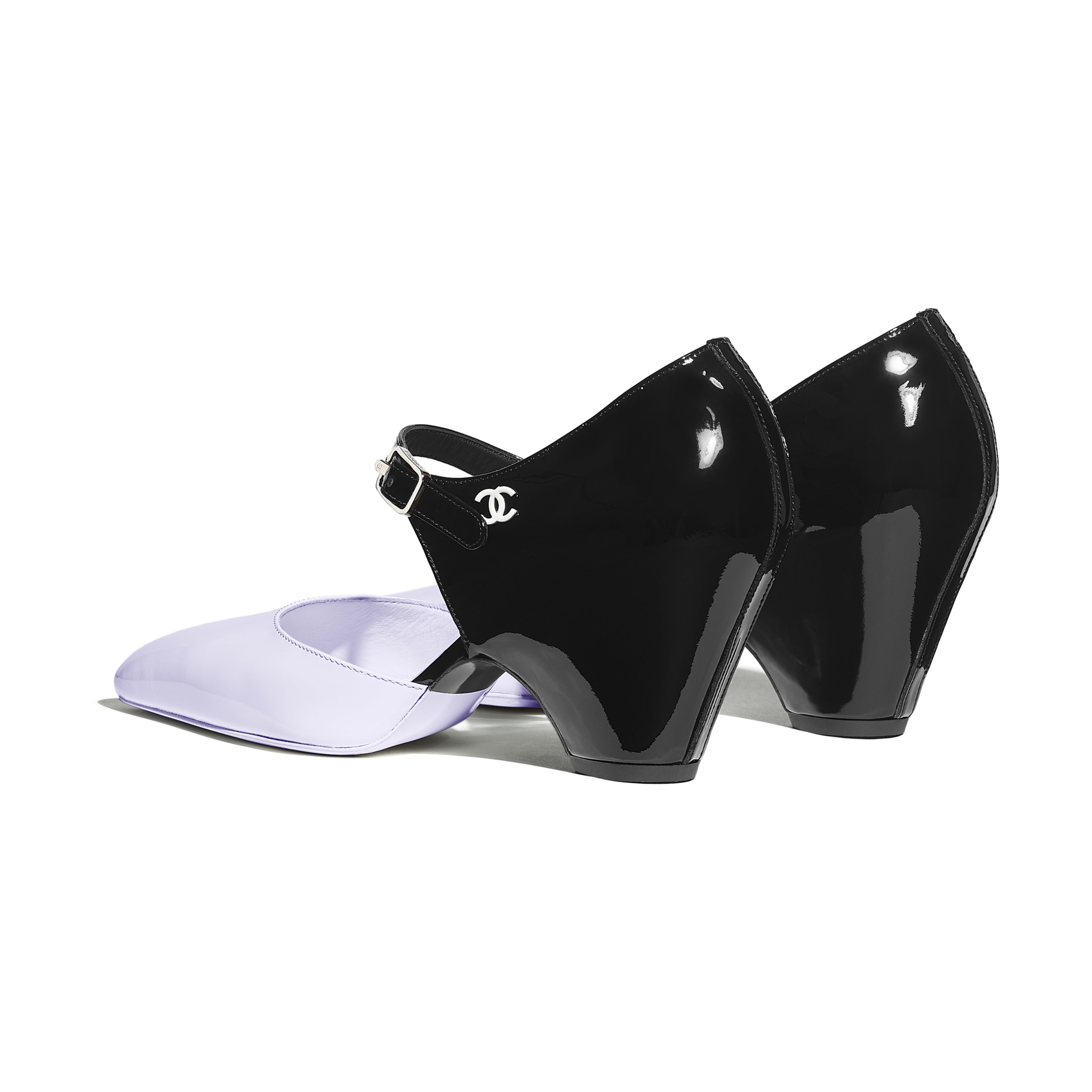 Pumps - Black & Purple - Patent Calfskin - Other view - see full sized version