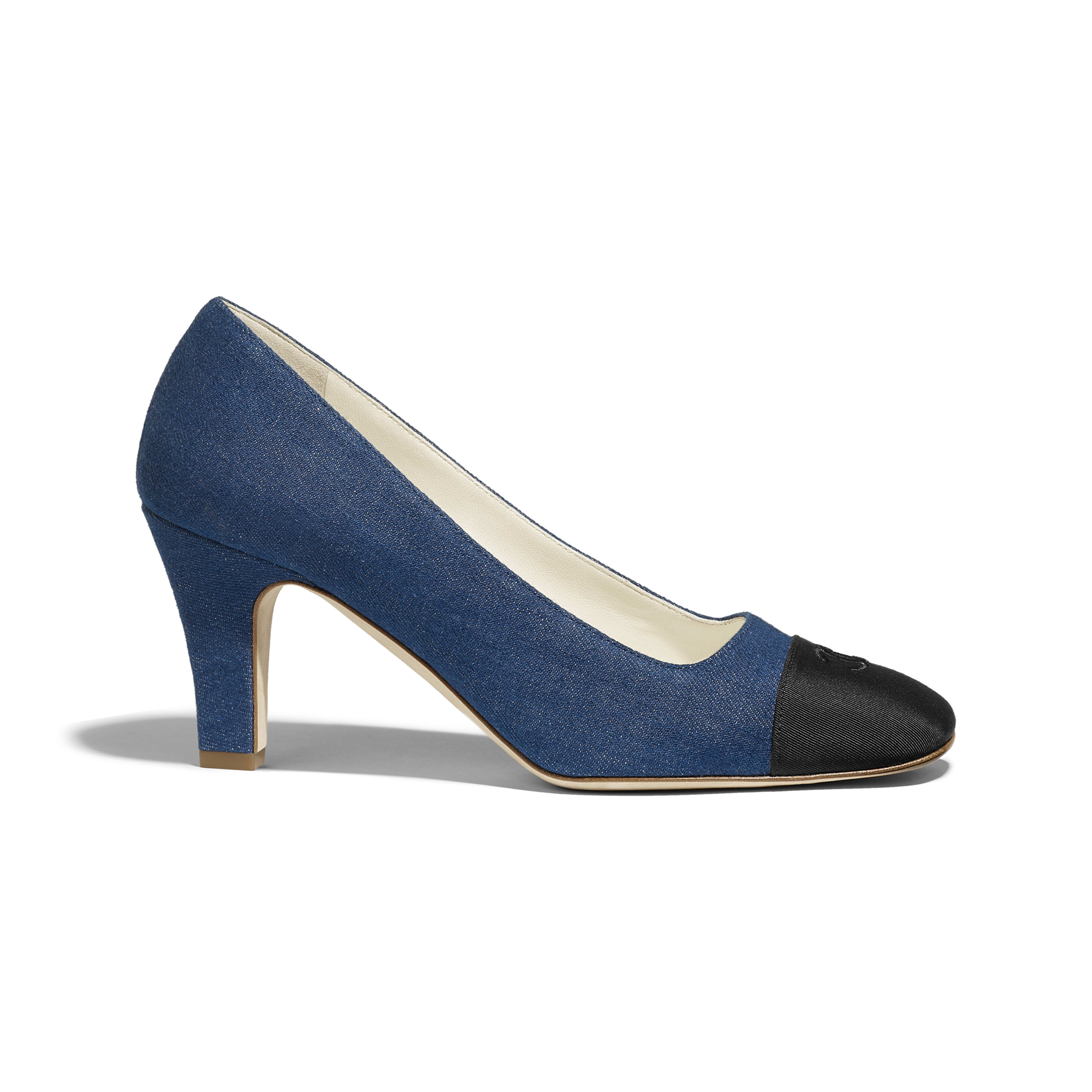 Pumps - Blue & Black - Fabric & Grosgrain - Default view - see full sized version