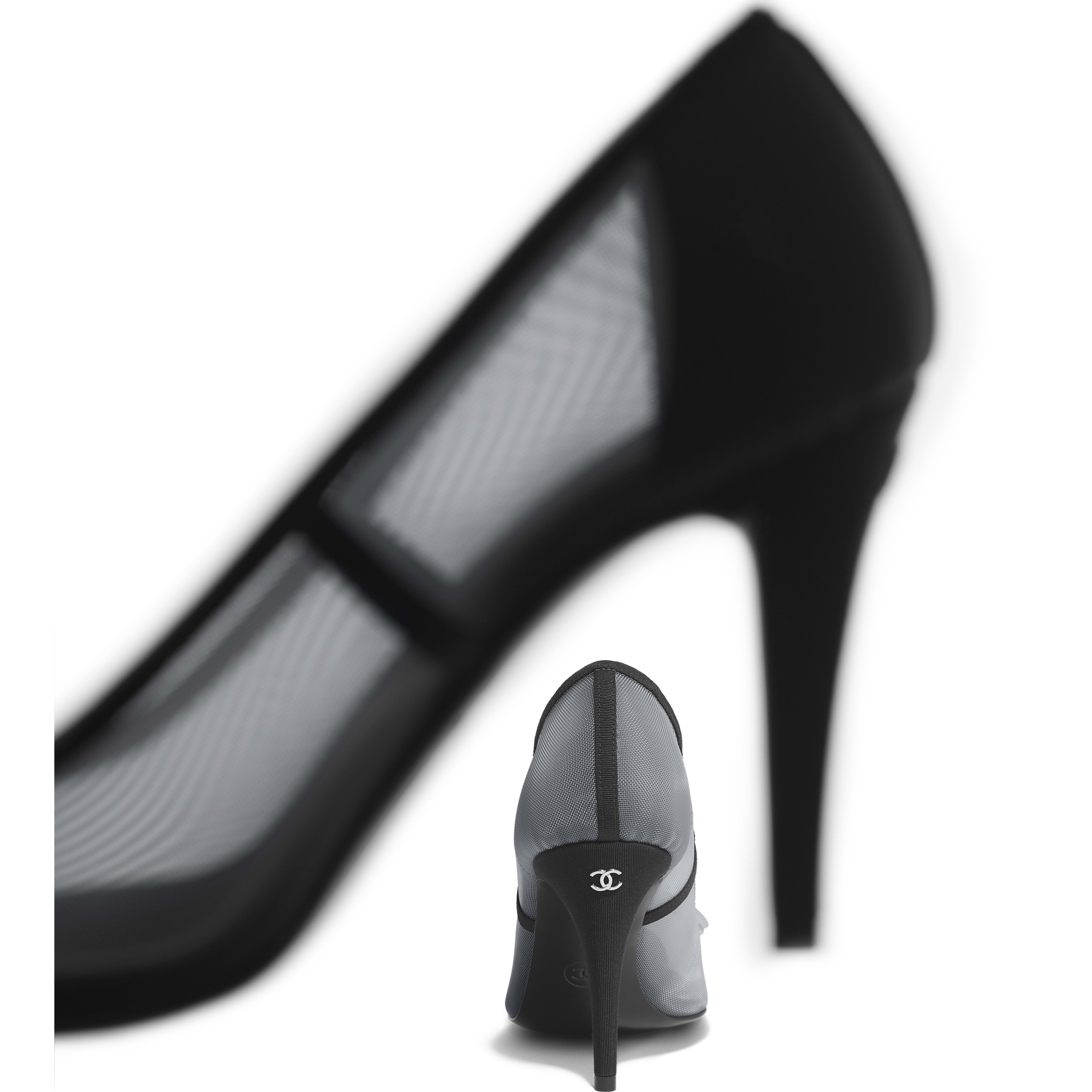 Pumps - Gray & Black - Mesh & Grosgrain - Other view - see full sized version