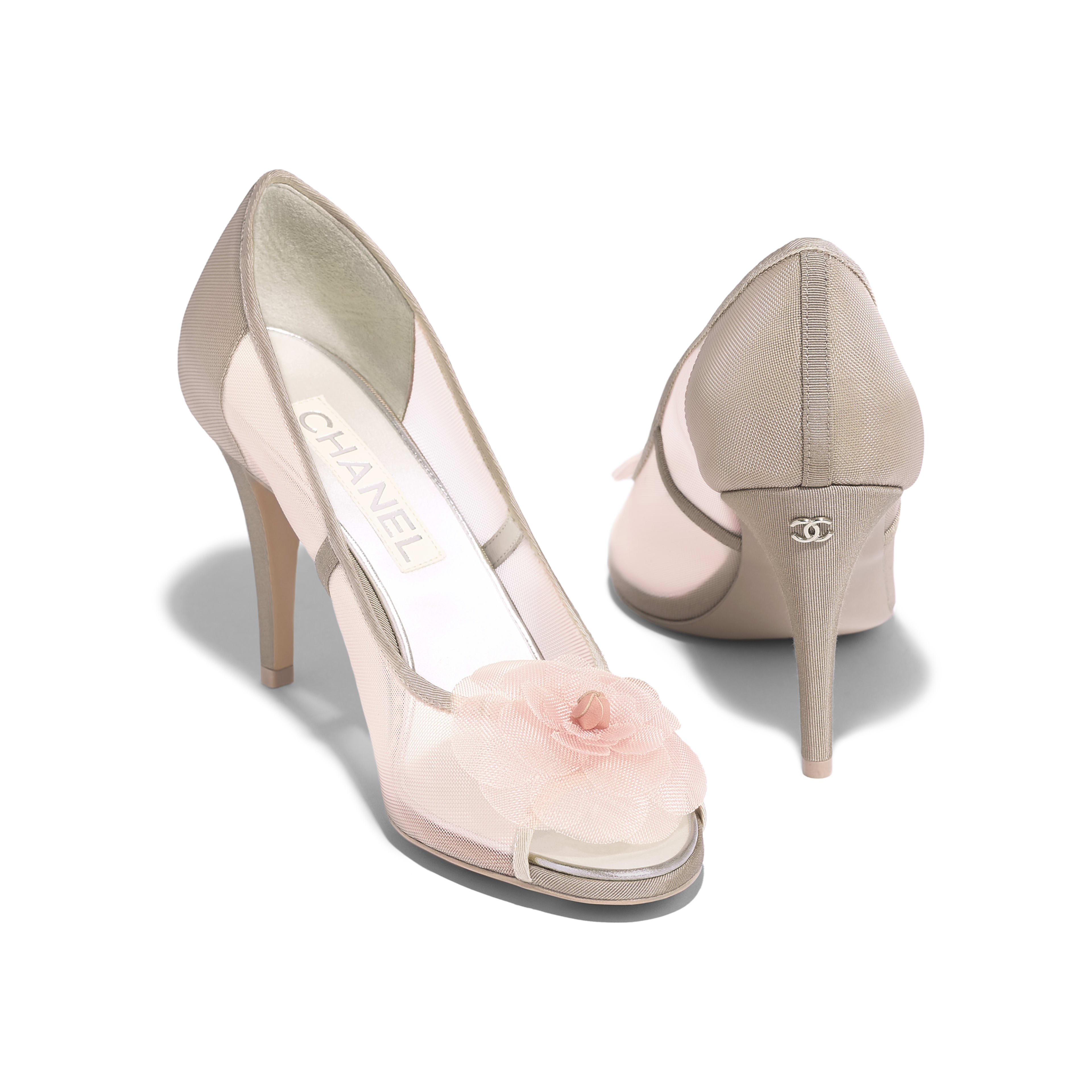 Pumps - Pink & Beige - Mesh & Grosgrain - Other view - see full sized version