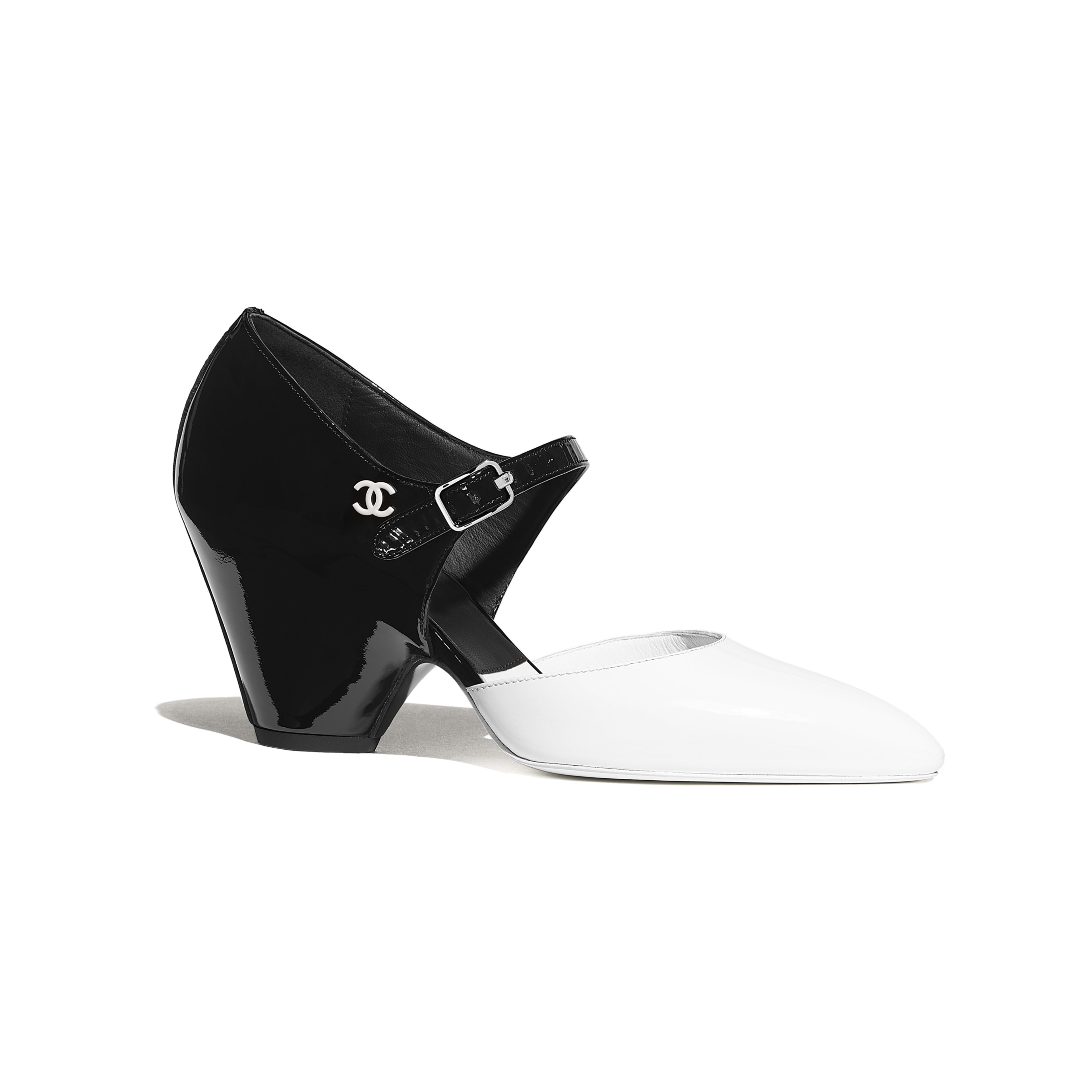 Pumps - White & Black - Patent Calfskin - Default view - see full sized version