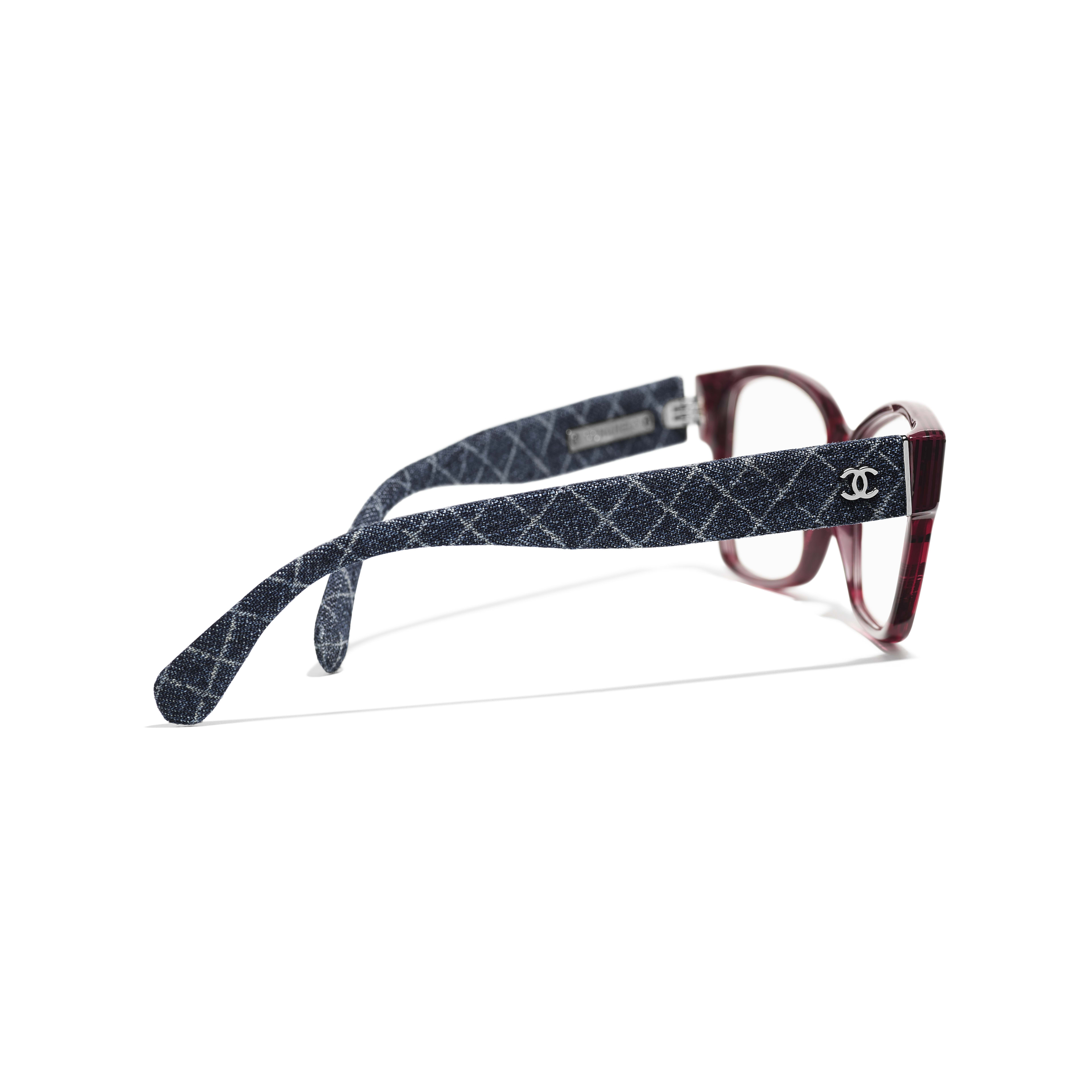 Rectangle Eyeglasses - Red & Dark Blue - Acetate & Denim - Extra view - see full sized version