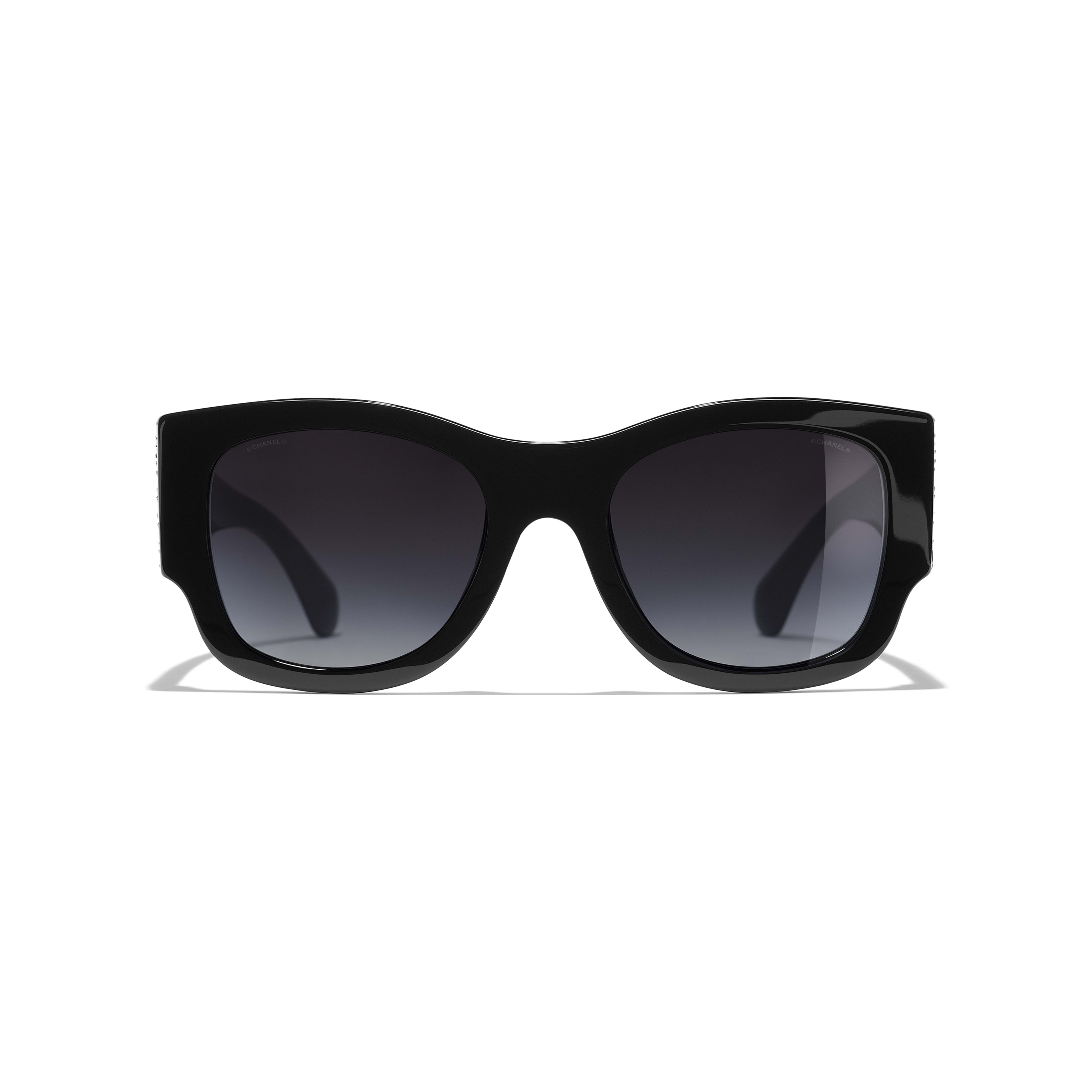 Rectangle Sunglasses - Black - Acetate & Strass - Alternative view - see full sized version