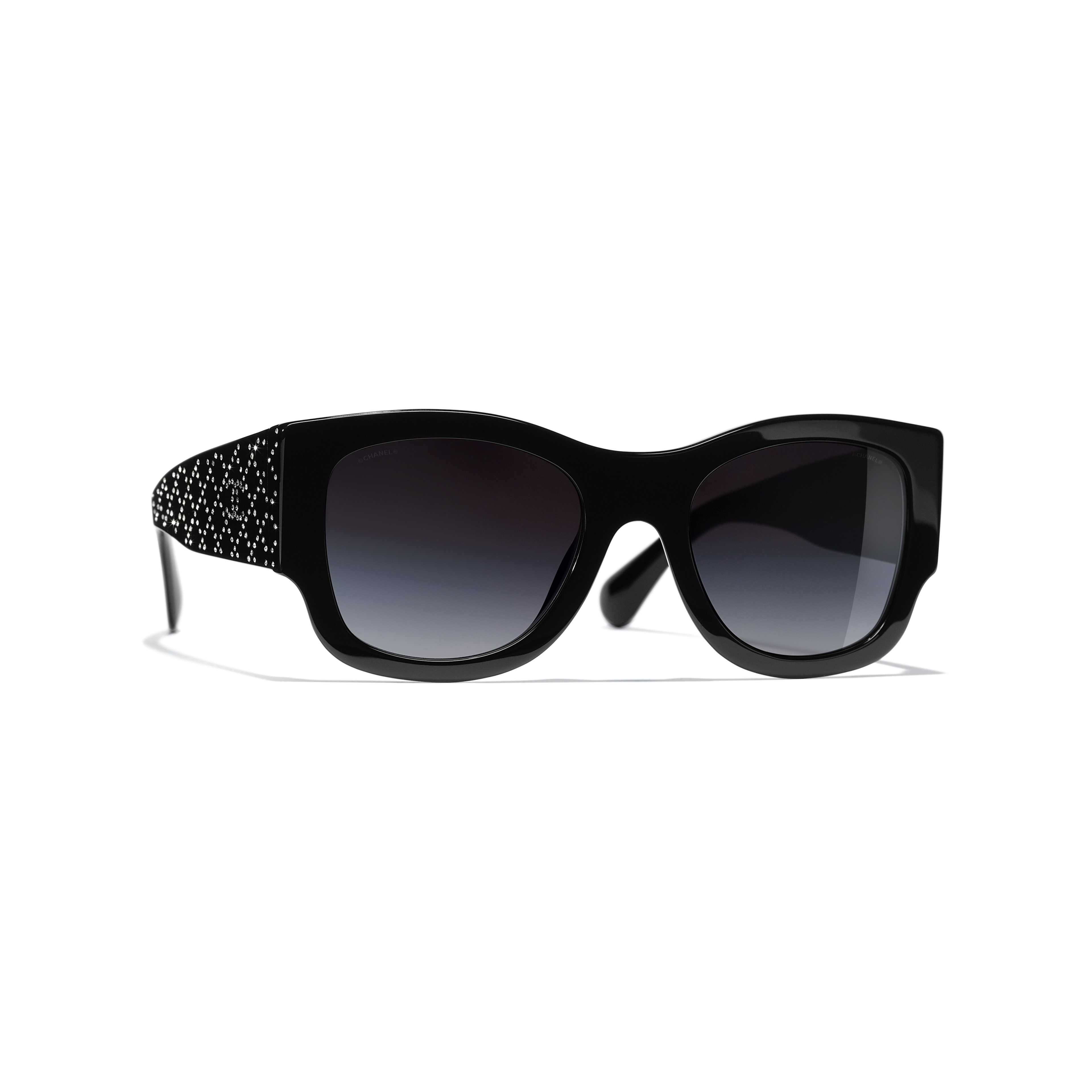 Rectangle Sunglasses - Black - Acetate & Strass - Default view - see full sized version