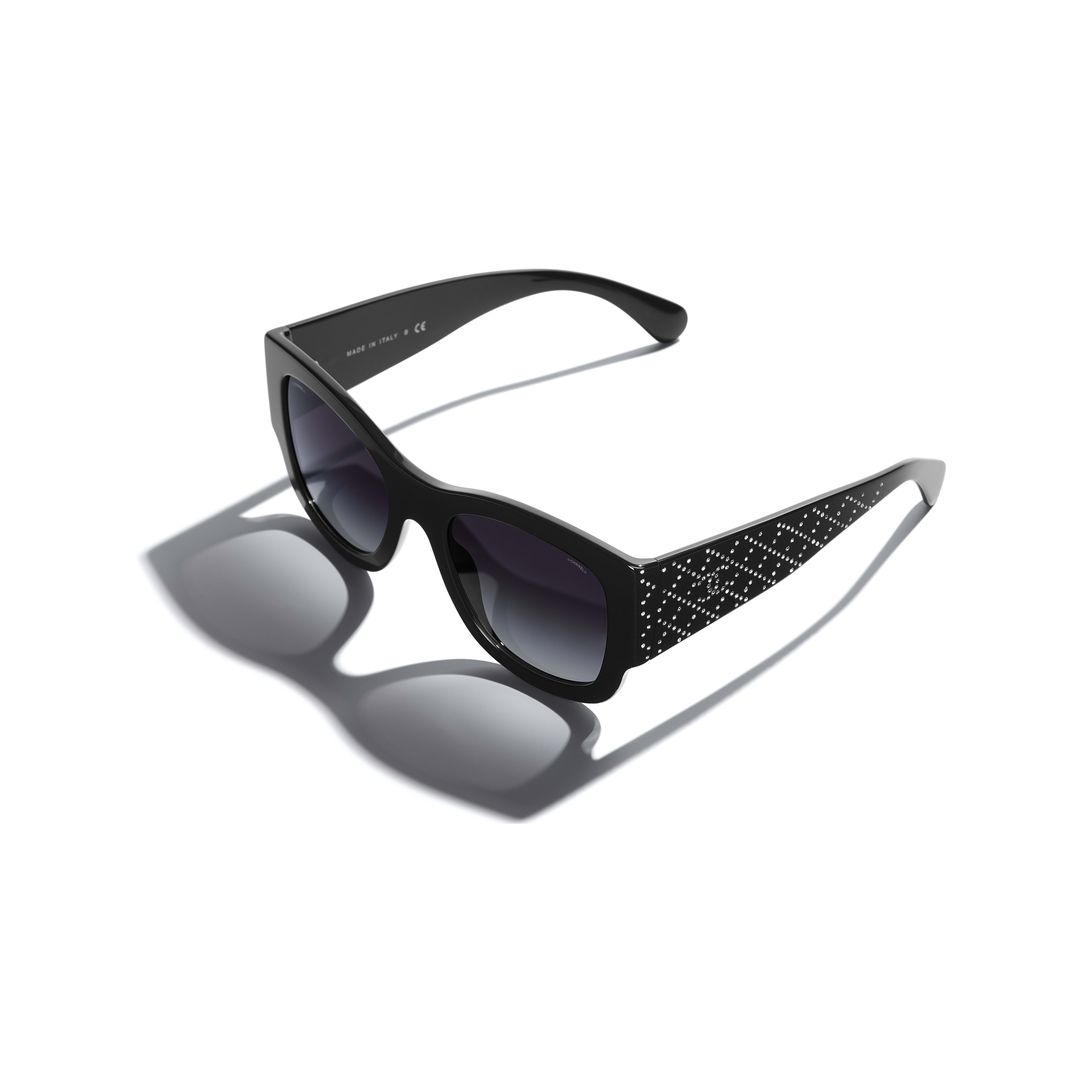Rectangle Sunglasses - Black - Acetate & Strass - Extra view - see full sized version