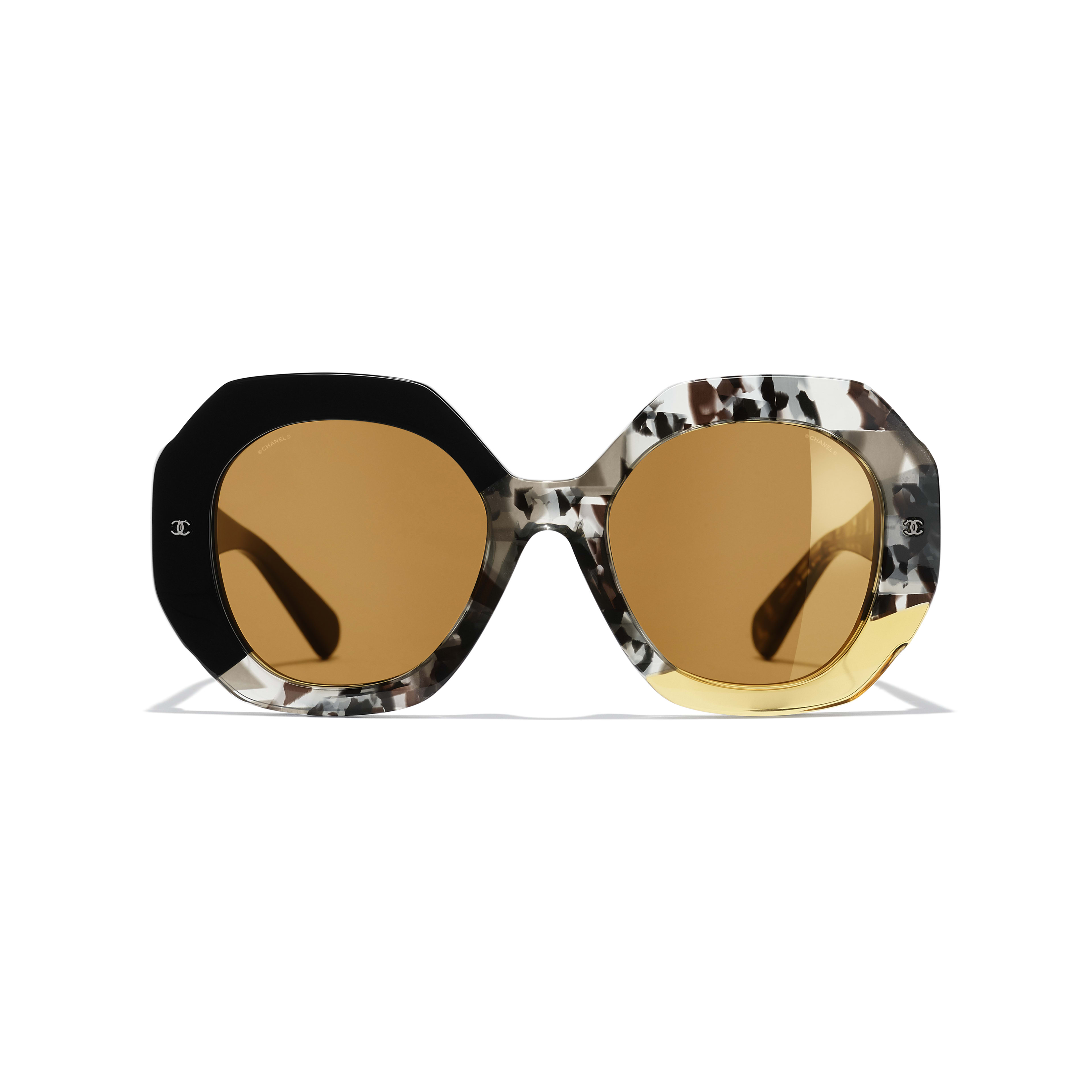 Round Sunglasses - Black, Gray & Yellow - Acetate - Alternative view - see full sized version