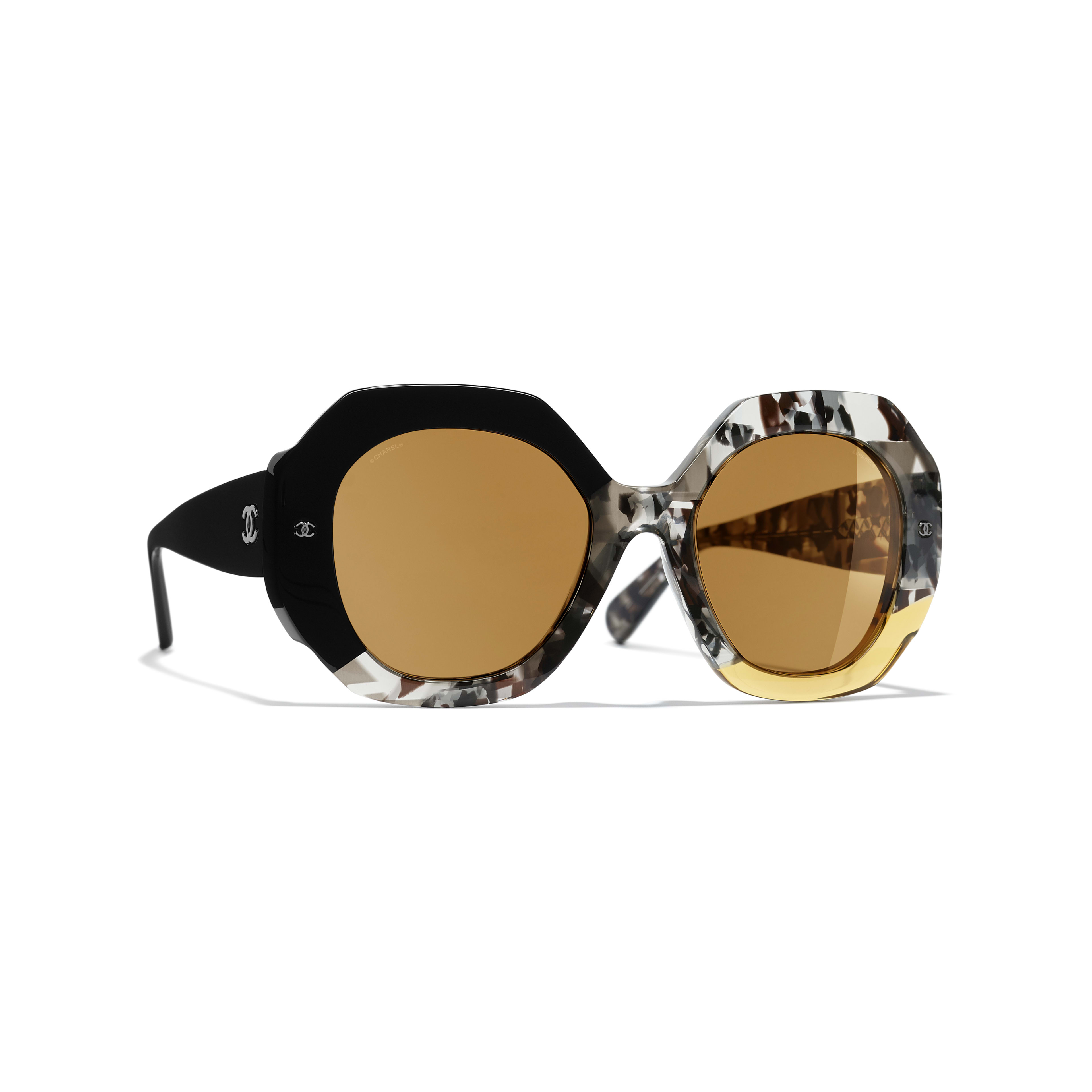 Round Sunglasses - Black, Gray & Yellow - Acetate - Default view - see full sized version