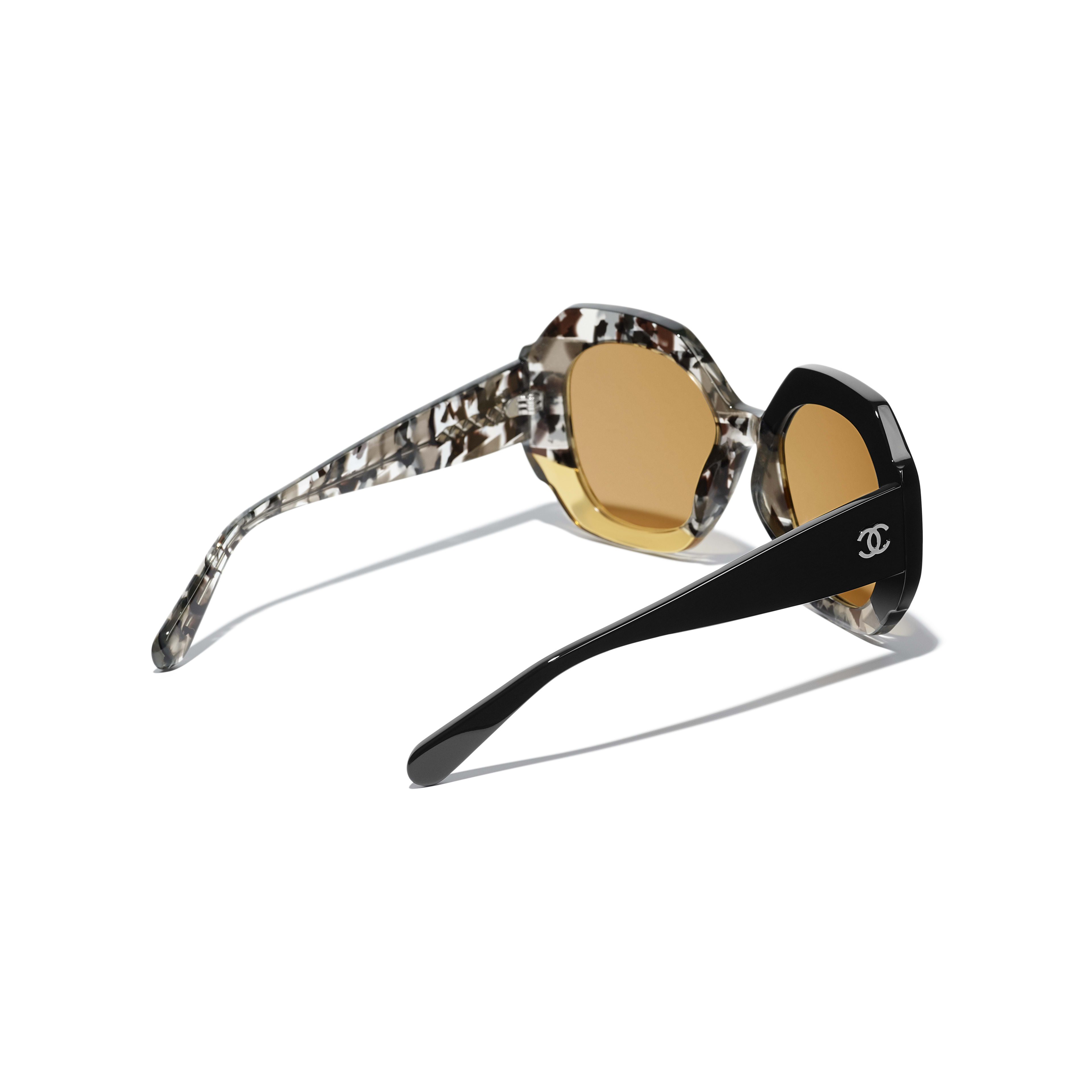Round Sunglasses - Black, Gray & Yellow - Acetate - Extra view - see full sized version