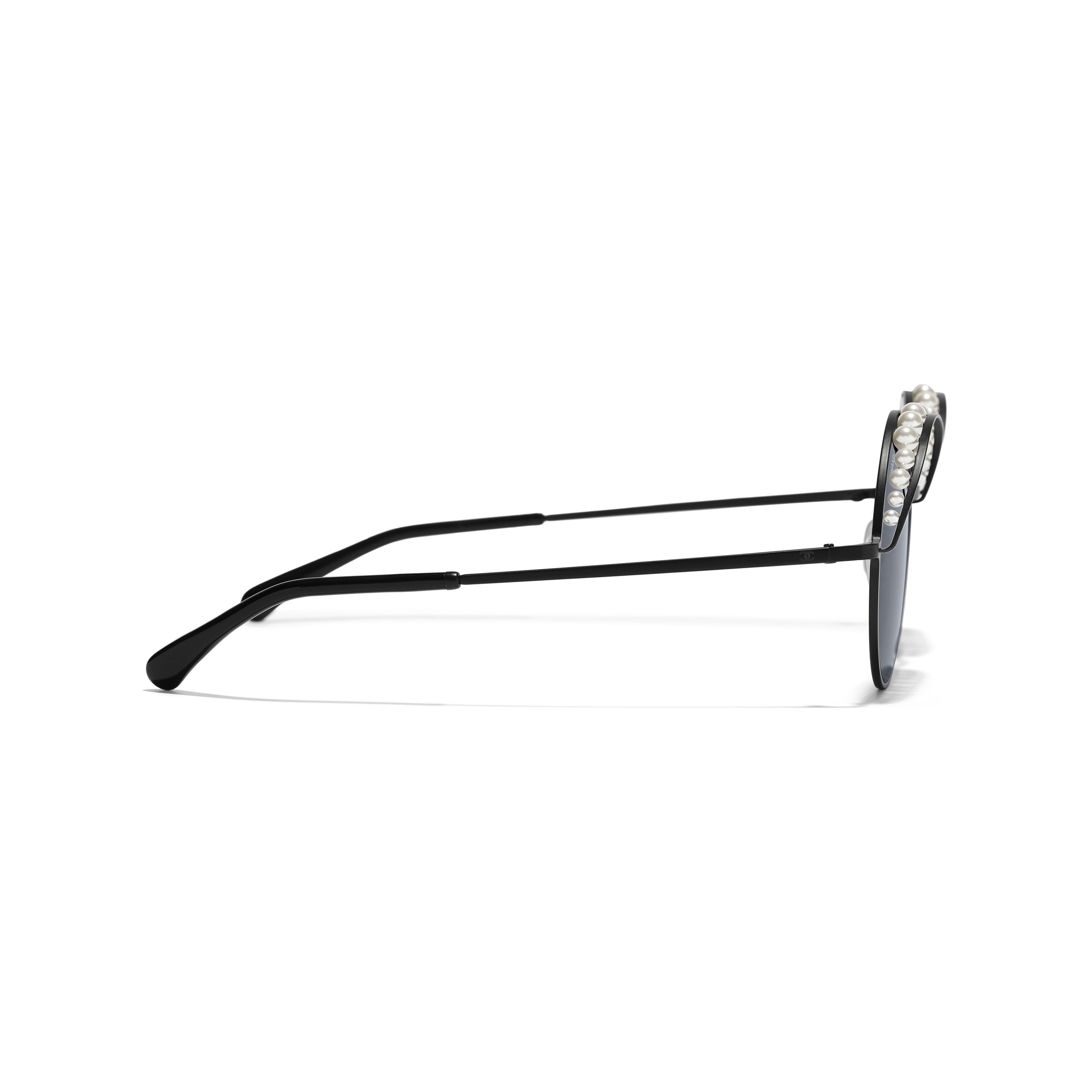 Round Sunglasses - Black - Metal & Imitation Pearls - Other view - see full sized version