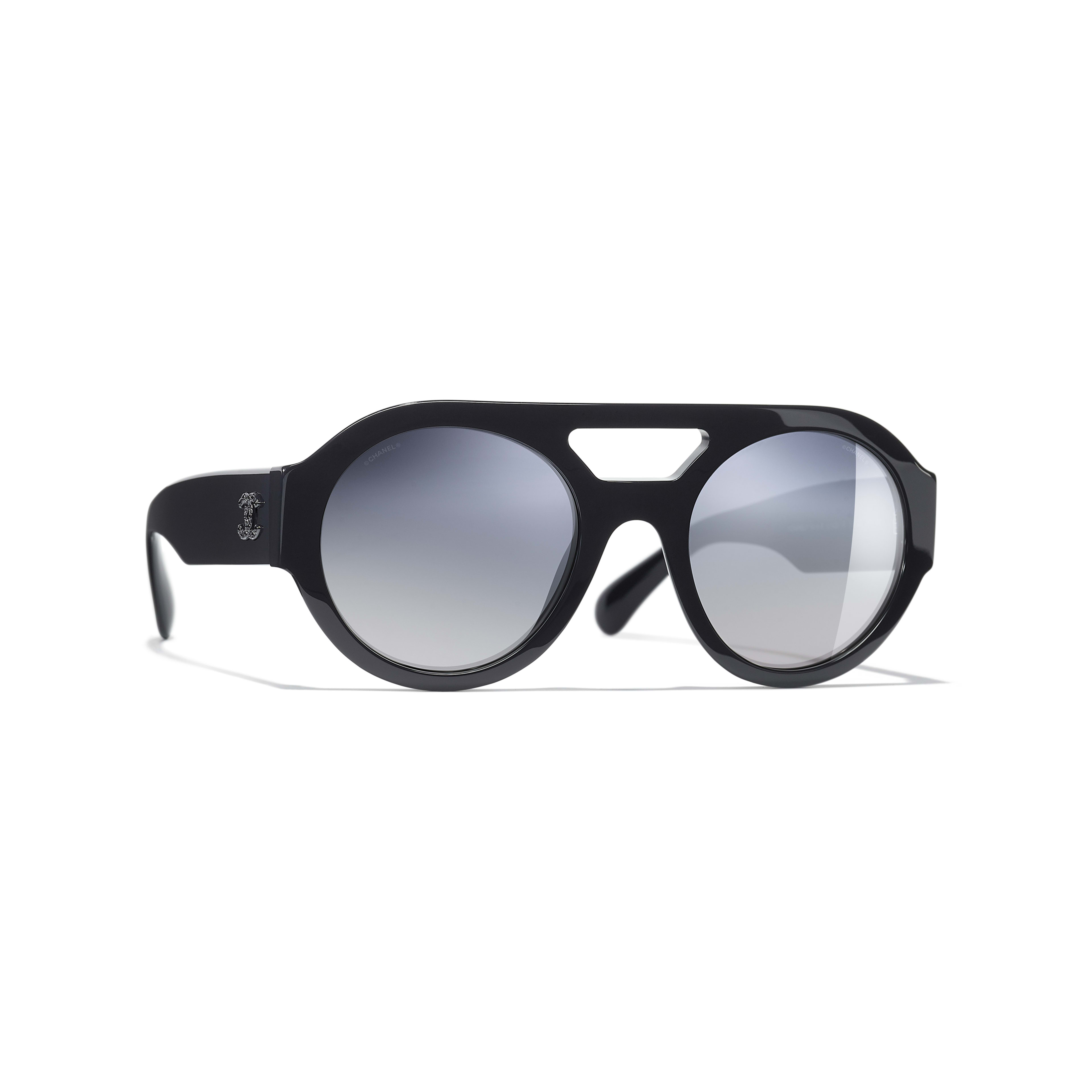 Round Sunglasses - Dark Blue - Acetate & Strass - Default view - see full sized version