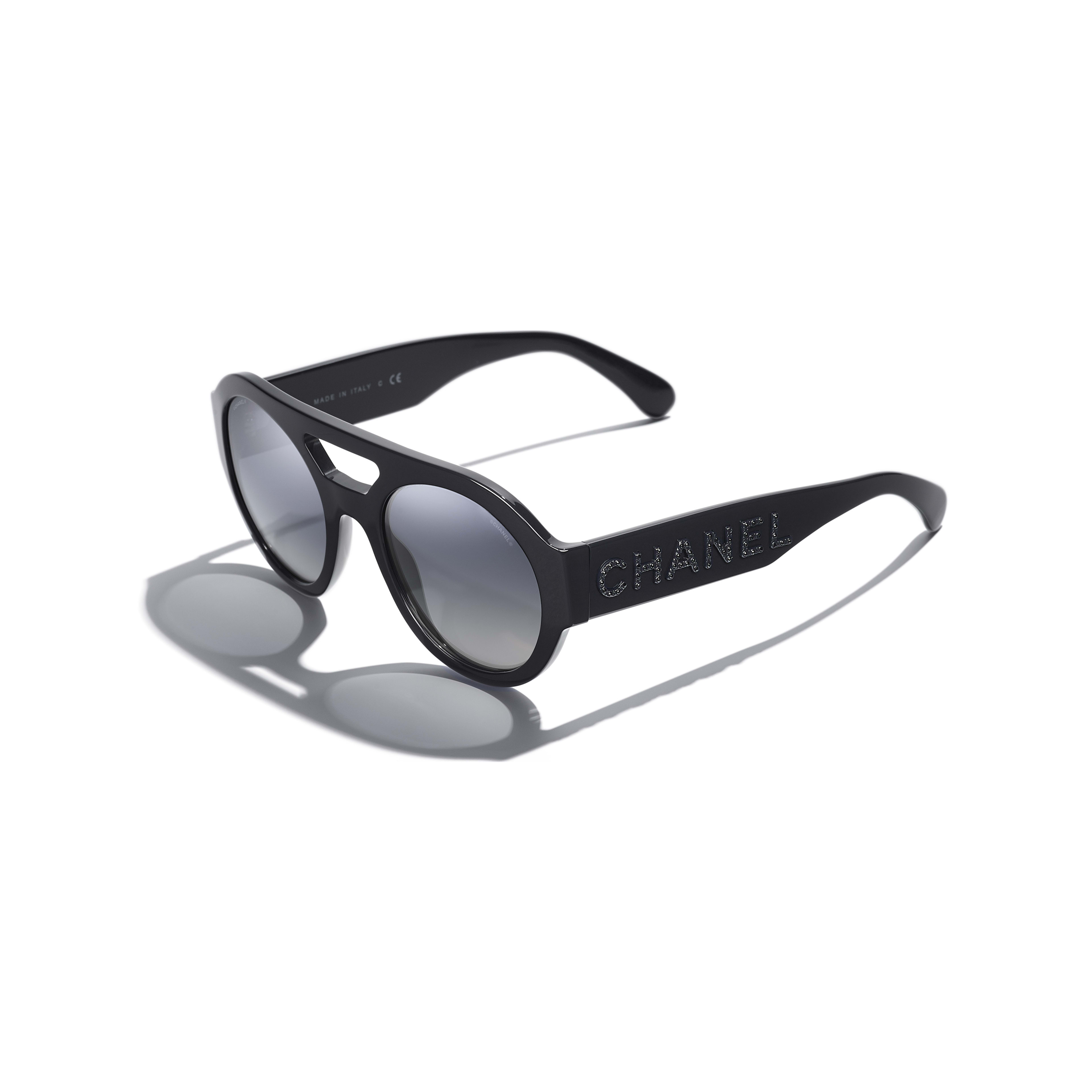 Round Sunglasses - Dark Blue - Acetate & Strass - Extra view - see full sized version