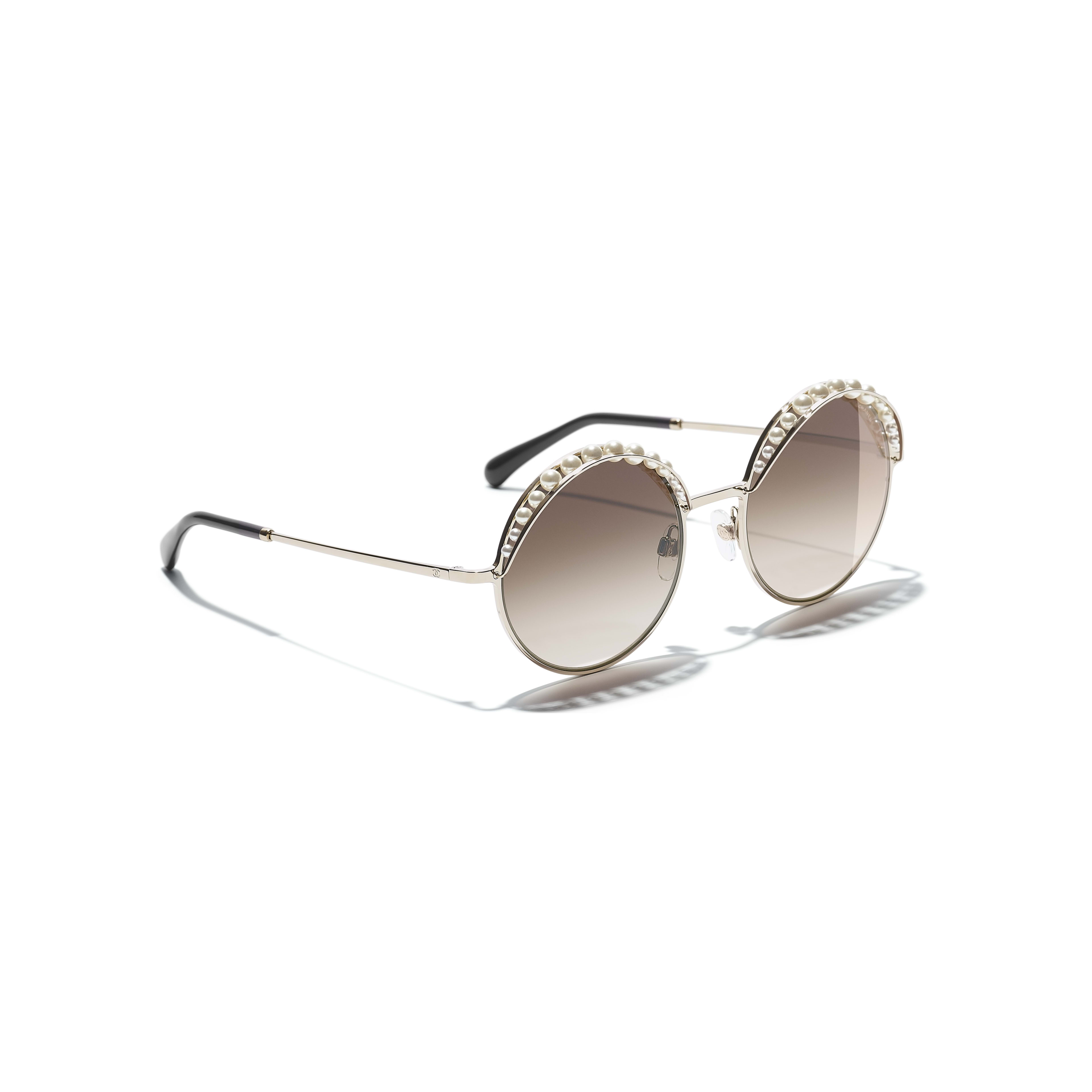 Round Sunglasses - Gold - Metal & Imitation Pearls - Extra view - see full sized version