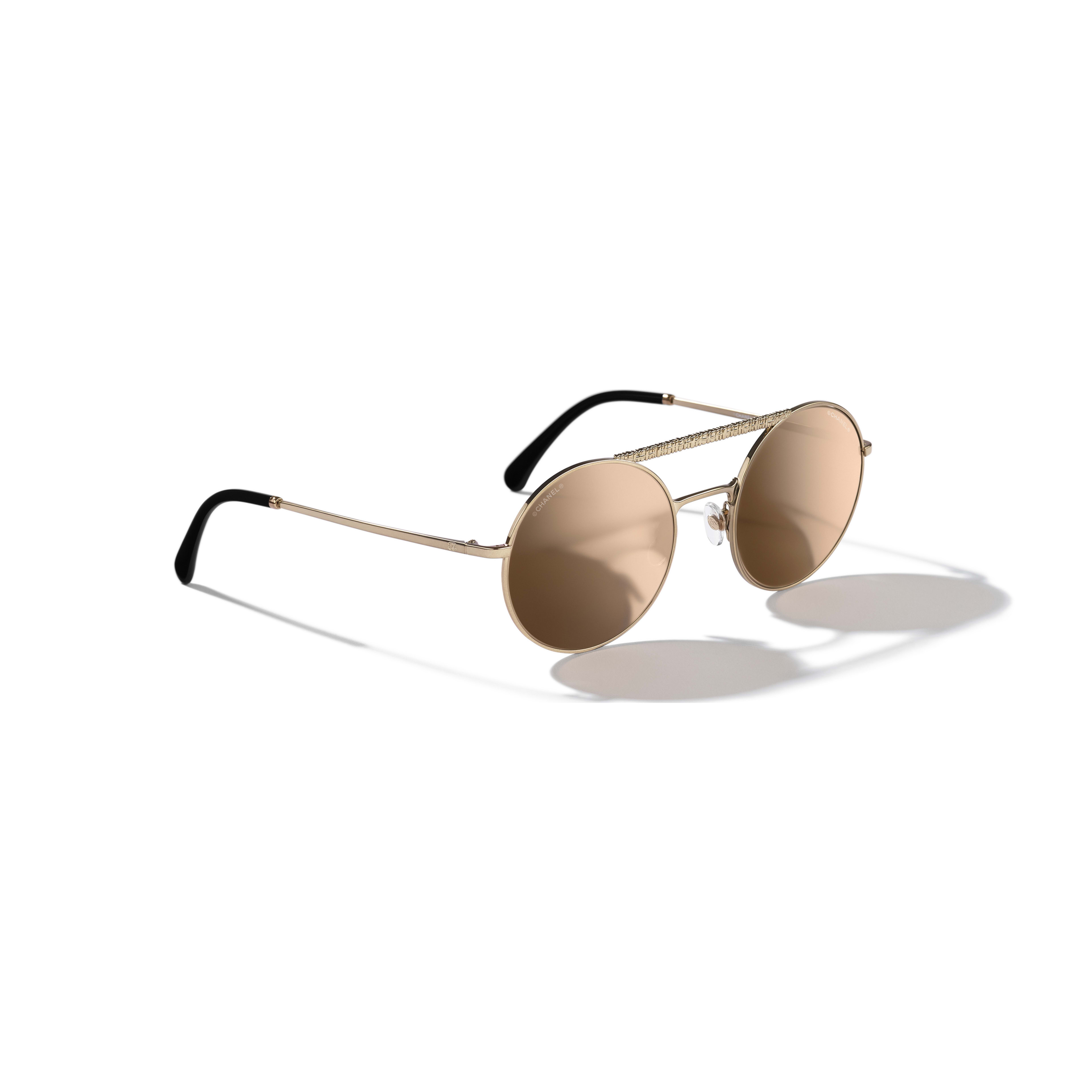 Round Sunglasses - Gold - Metal - Extra view - see full sized version