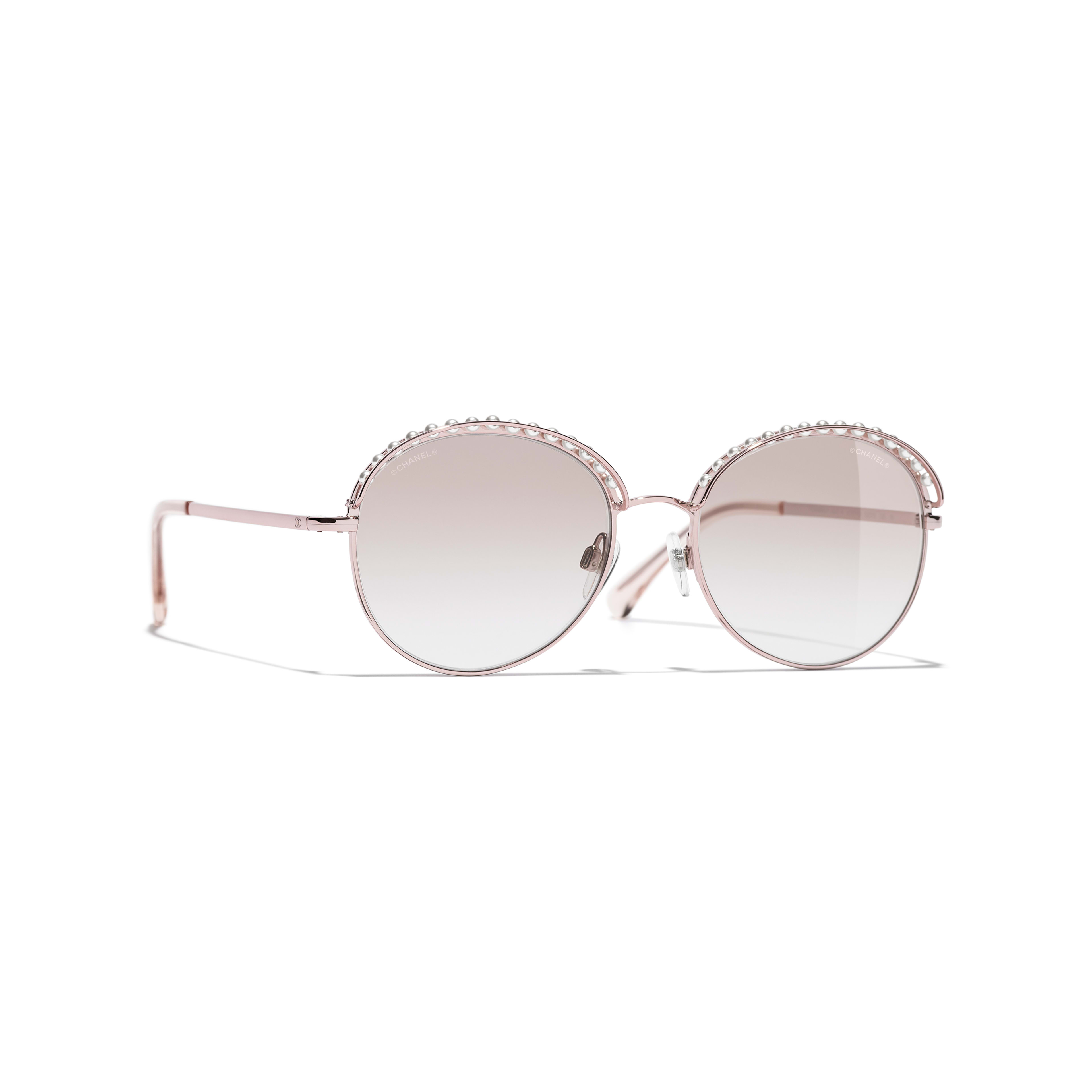 Round Sunglasses - Pinky Gold - Metal & Imitation Pearls - Default view - see full sized version