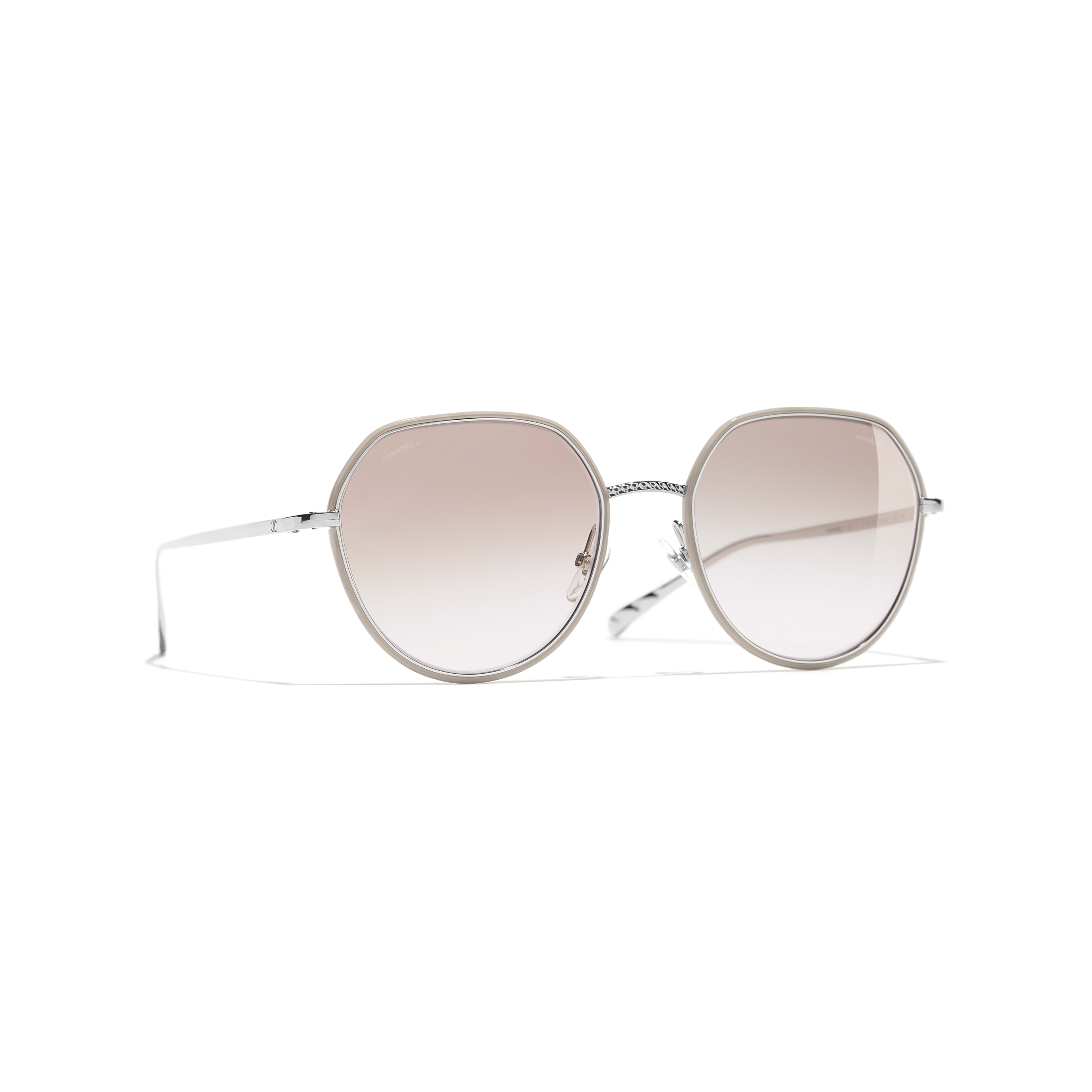 Round Sunglasses - Silver & Beige - Metal - Default view - see full sized version