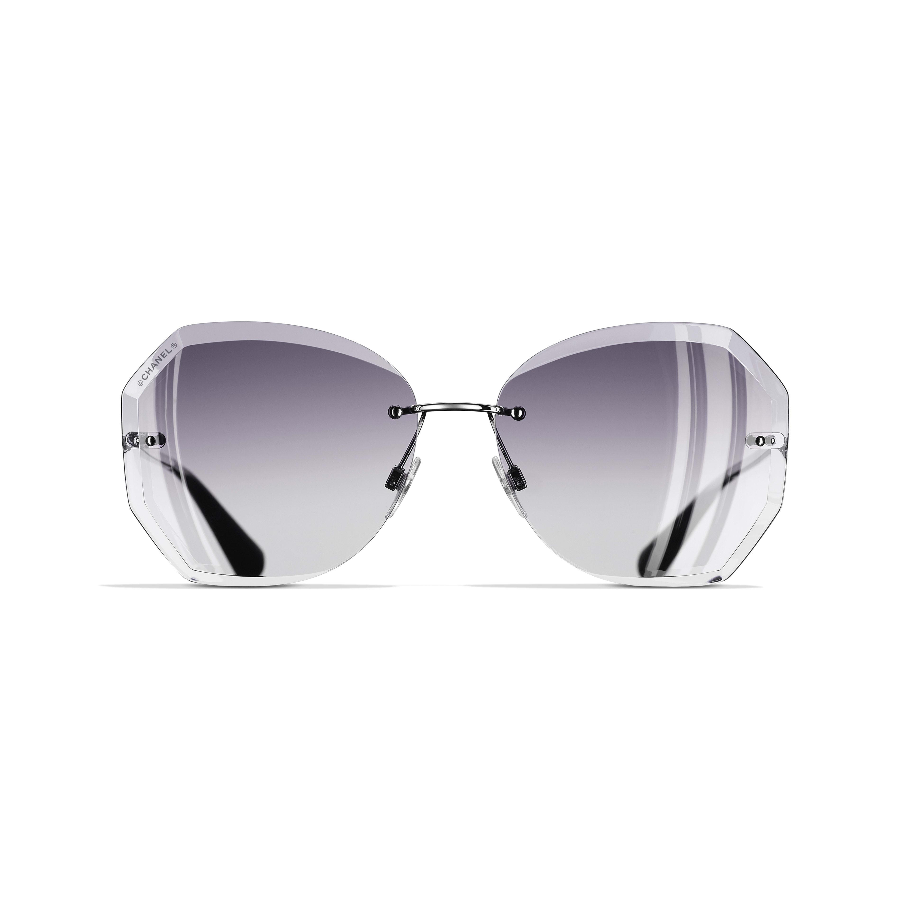 Солнцезащитные очки круглой формы - Серебристый и серый - Металл - Альтернативный вид - посмотреть полноразмерное изображение