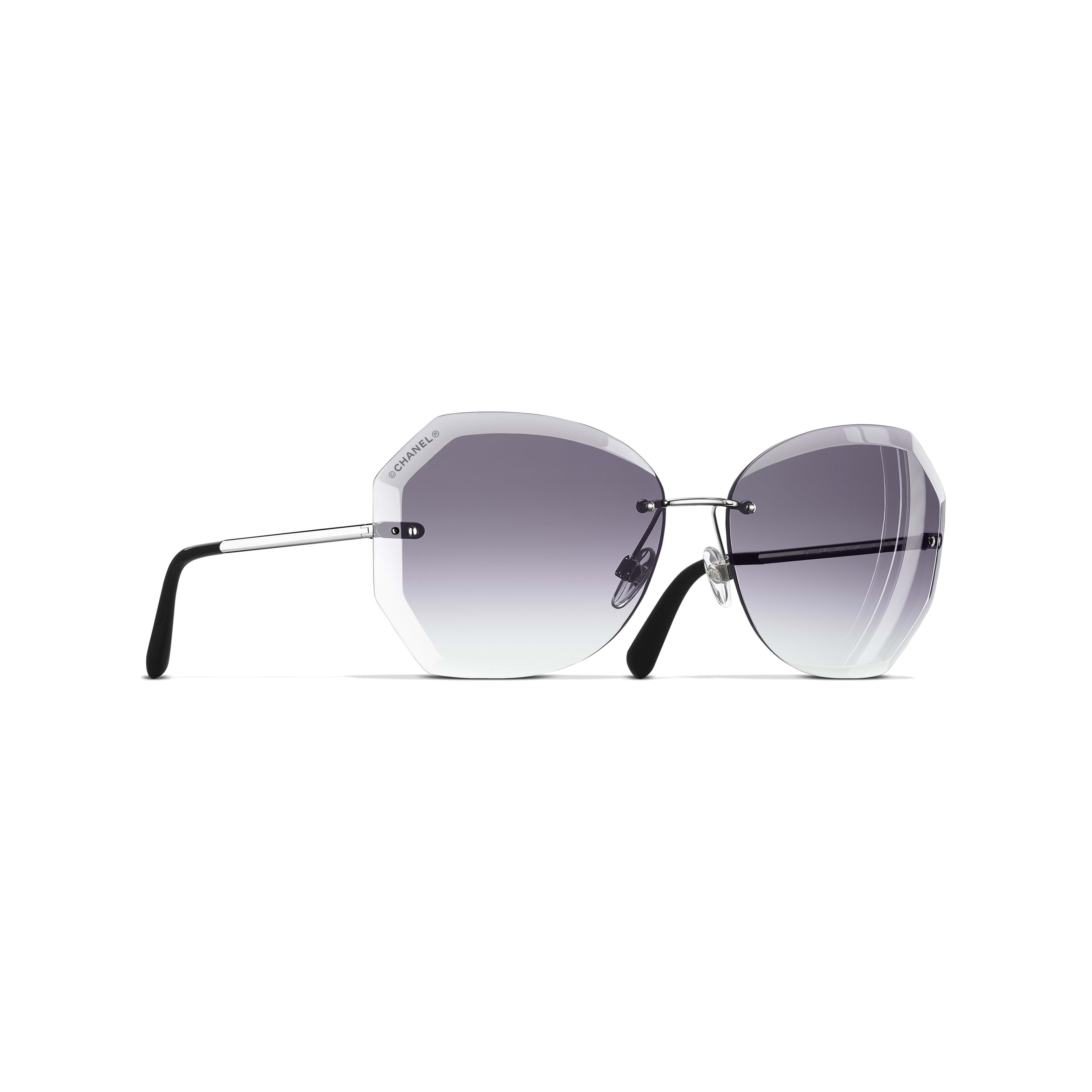 Солнцезащитные очки круглой формы - Серебристый и серый - Металл - Вид по умолчанию - посмотреть полноразмерное изображение