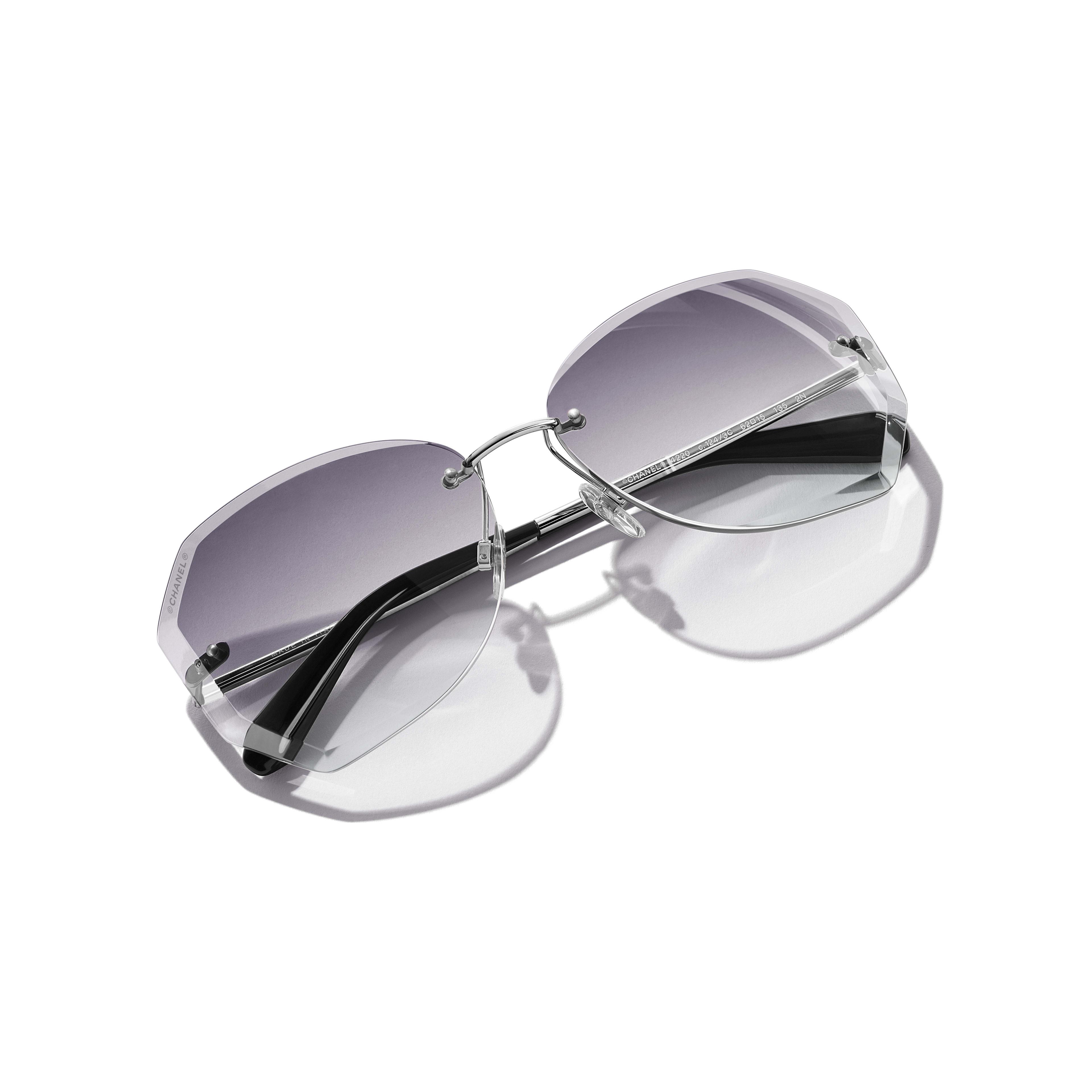 Солнцезащитные очки круглой формы - Серебристый и серый - Металл - Дополнительное изображение - посмотреть полноразмерное изображение