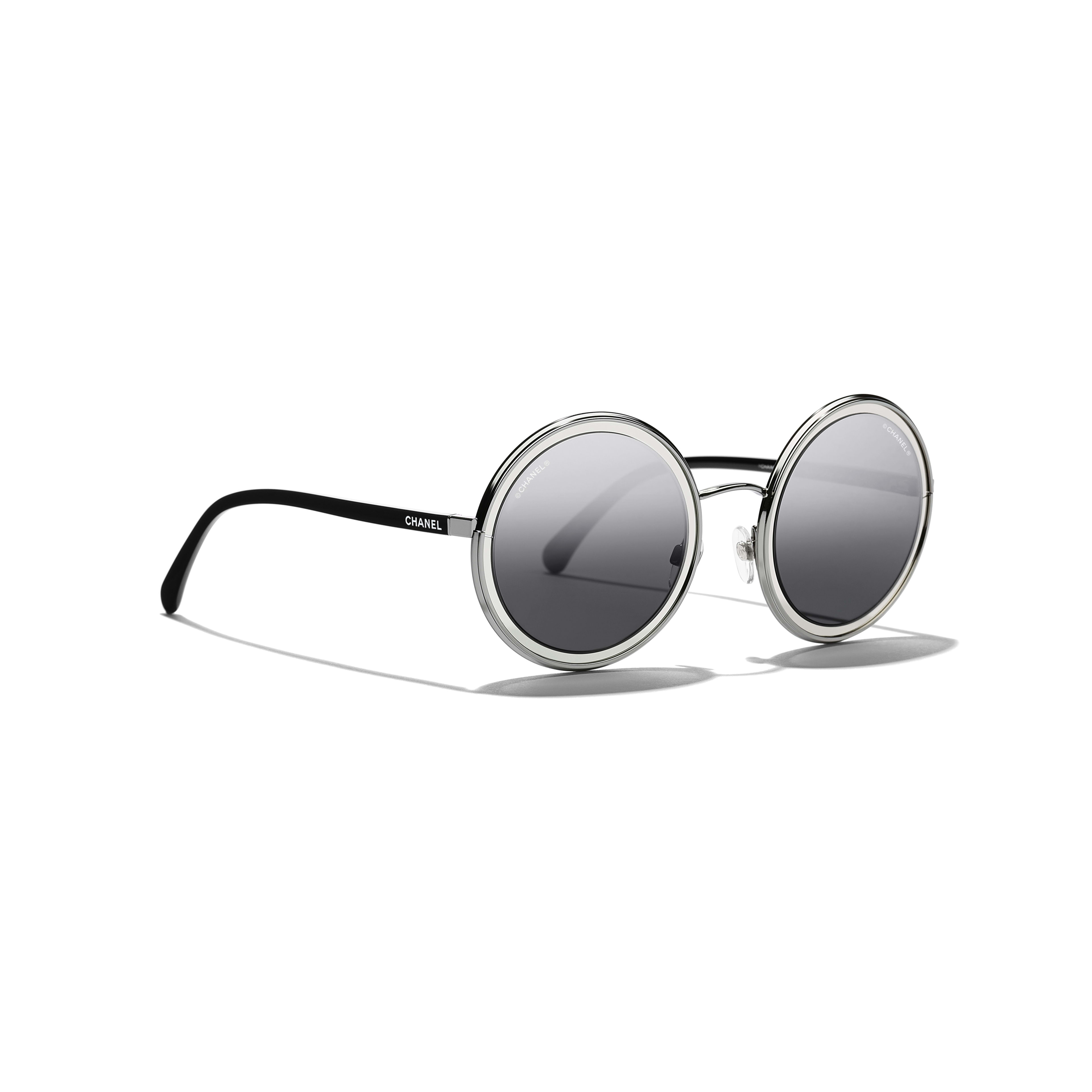 Round Sunglasses - Silver - Metal - Extra view - see full sized version