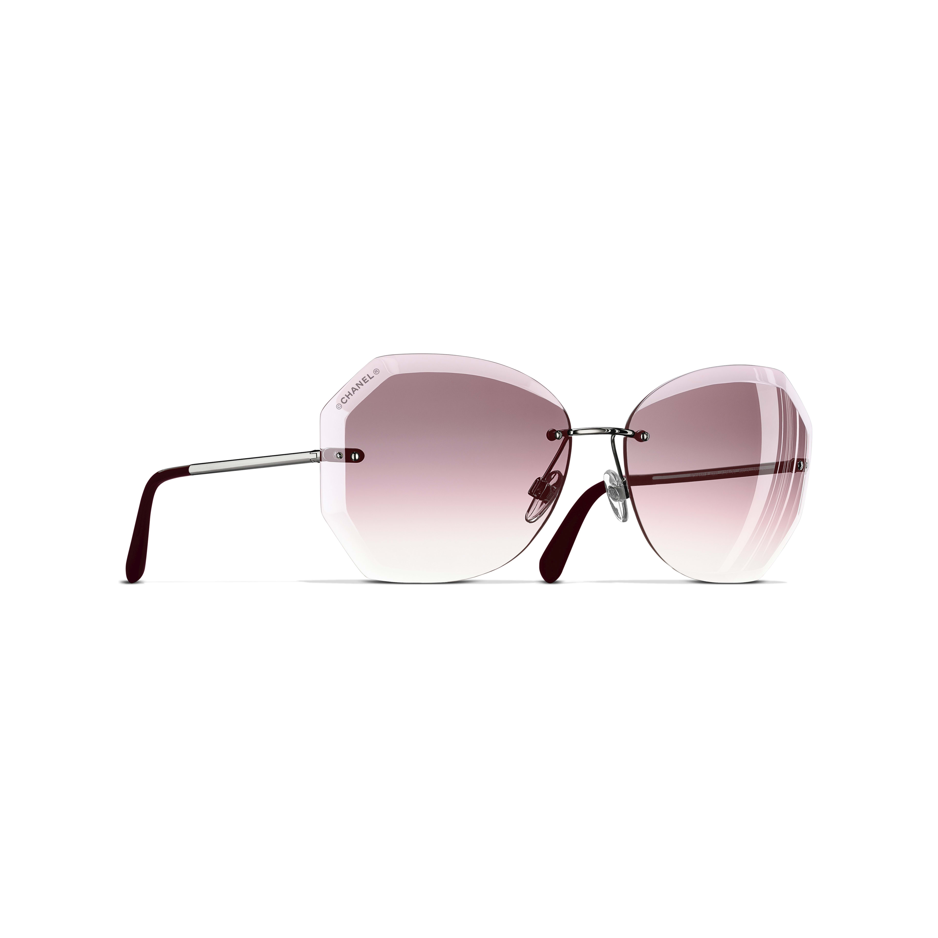 Round Sunglasses - Silver & Pink - Metal - Default view - see full sized version