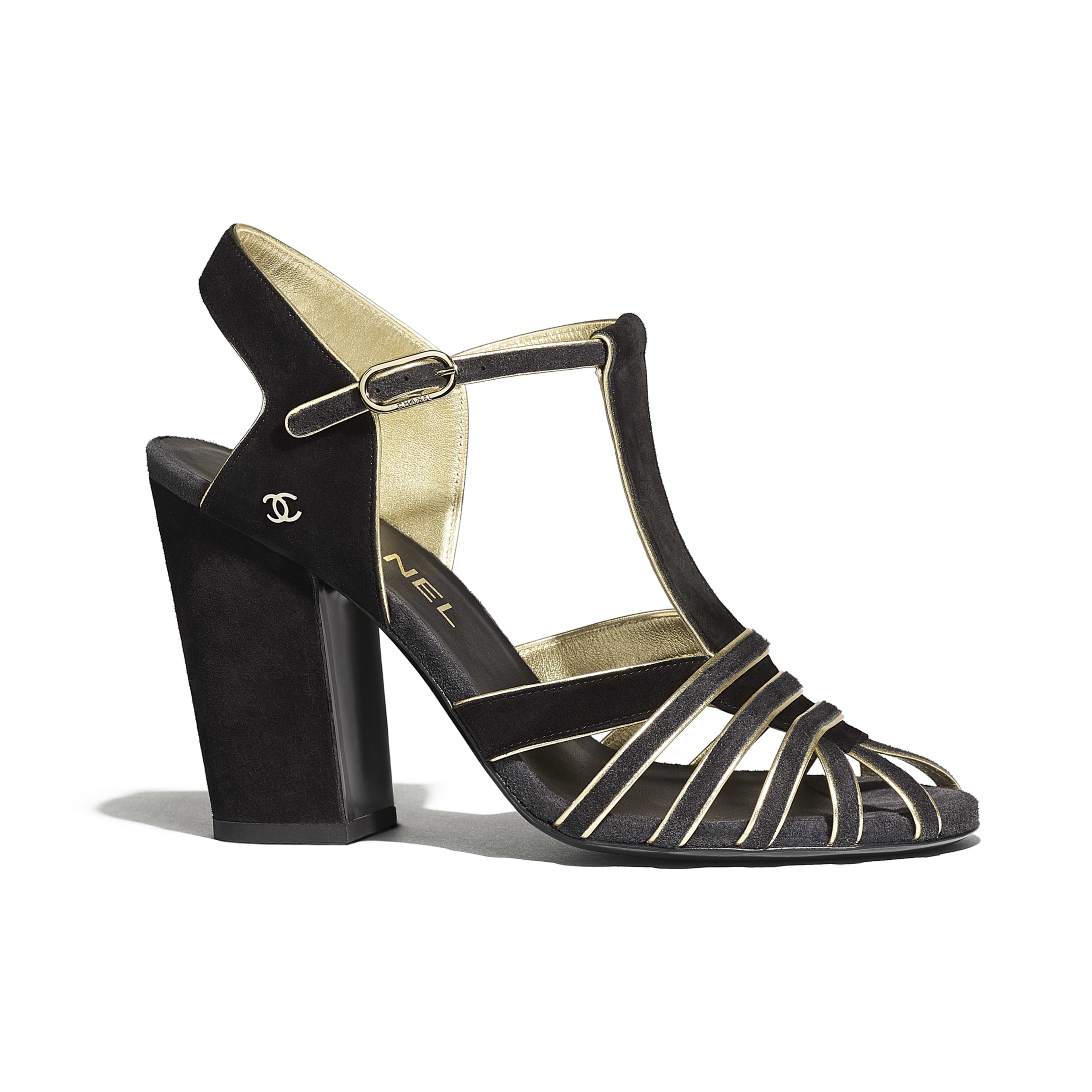 Sandals - Black & Gray - Suede Calfskin - Default view - see full sized version