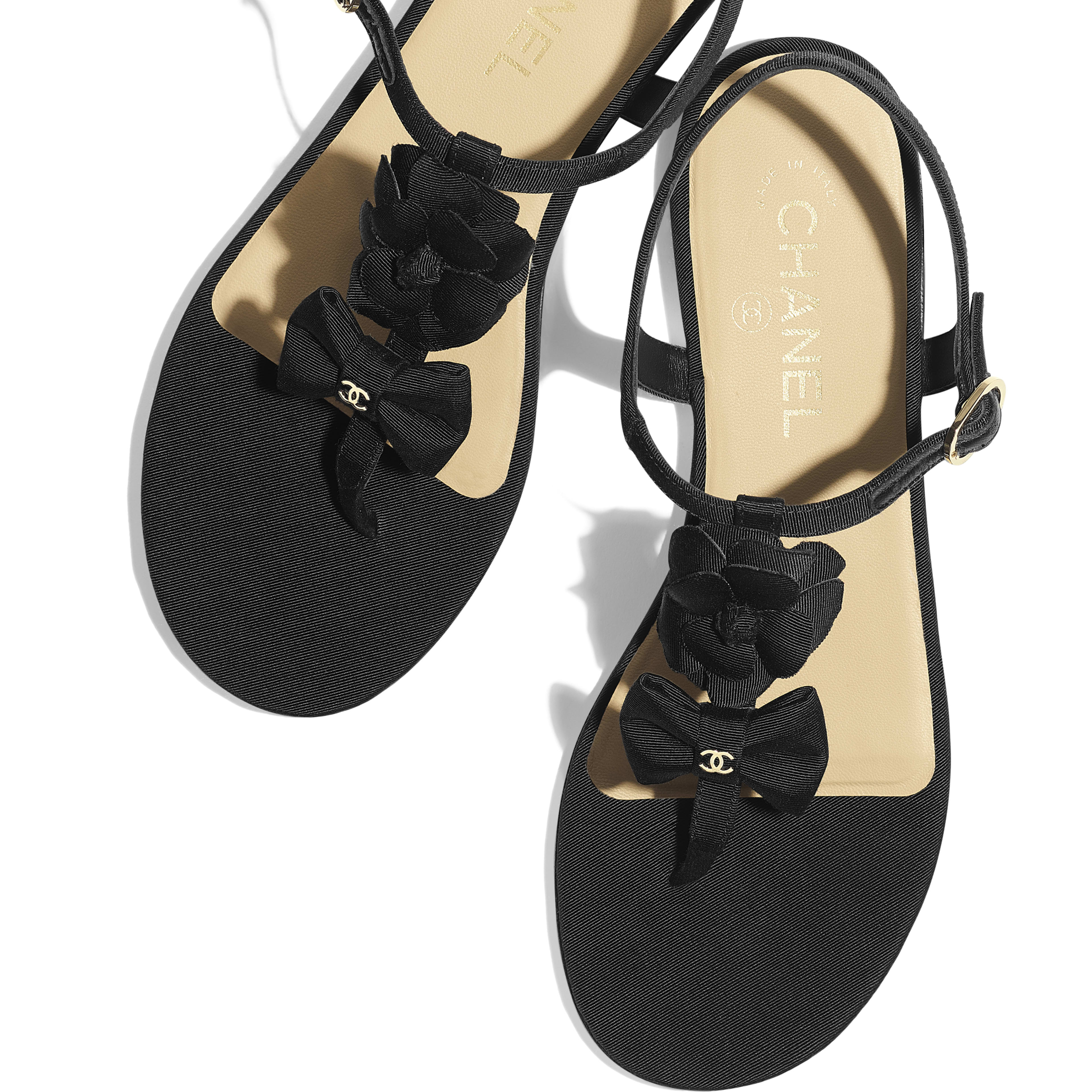 Sandals - Black - Grosgrain - Extra view - see full sized version