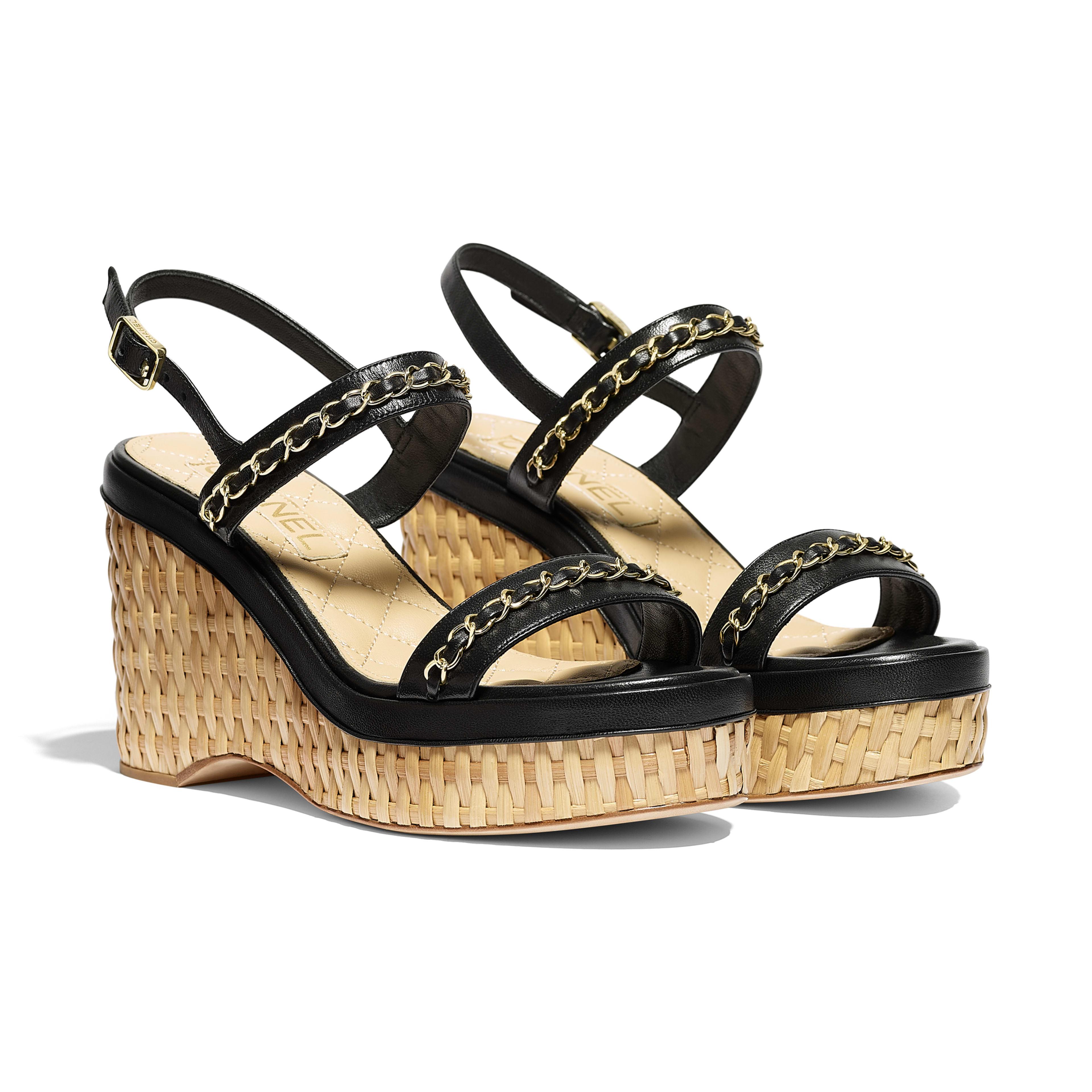 รองเท้าแซนดัลมีสายรัดส้น - สีดำ - หนังแกะ - มุมมองทางอื่น - ดูเวอร์ชันขนาดเต็ม