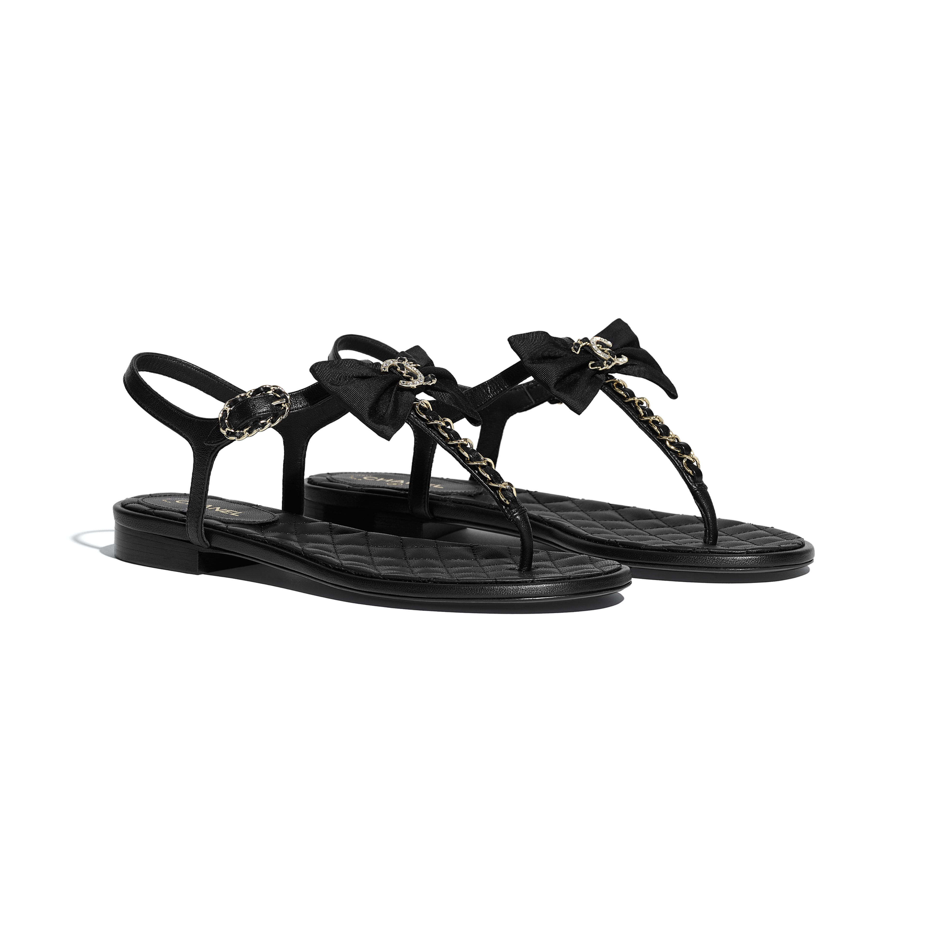 Lambskin Black Sandals | CHANEL