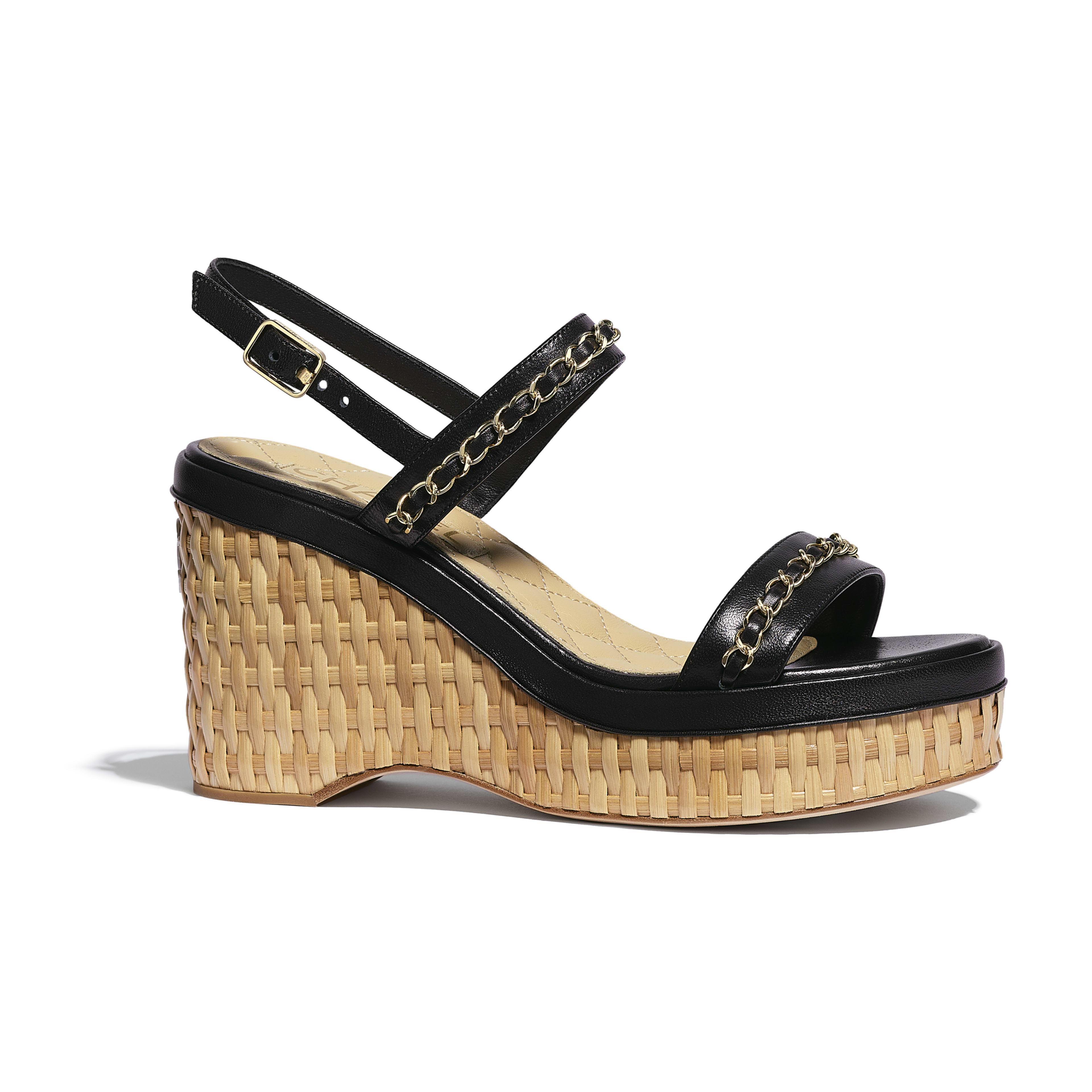 รองเท้าแซนดัลมีสายรัดส้น - สีดำ - หนังแกะ - มุมมองปัจจุบัน - ดูเวอร์ชันขนาดเต็ม