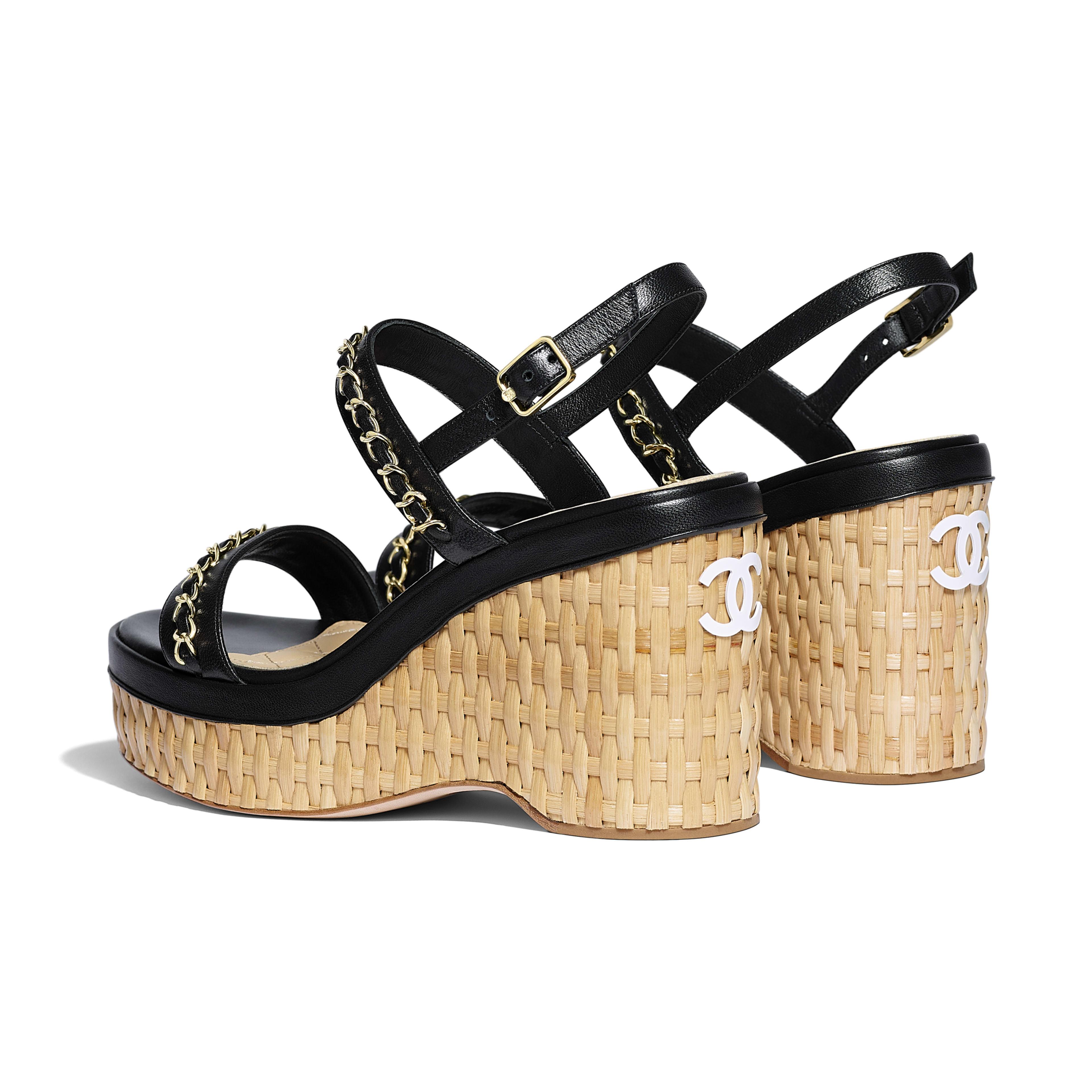 รองเท้าแซนดัลมีสายรัดส้น - สีดำ - หนังแกะ - มุมมองอื่น - ดูเวอร์ชันขนาดเต็ม