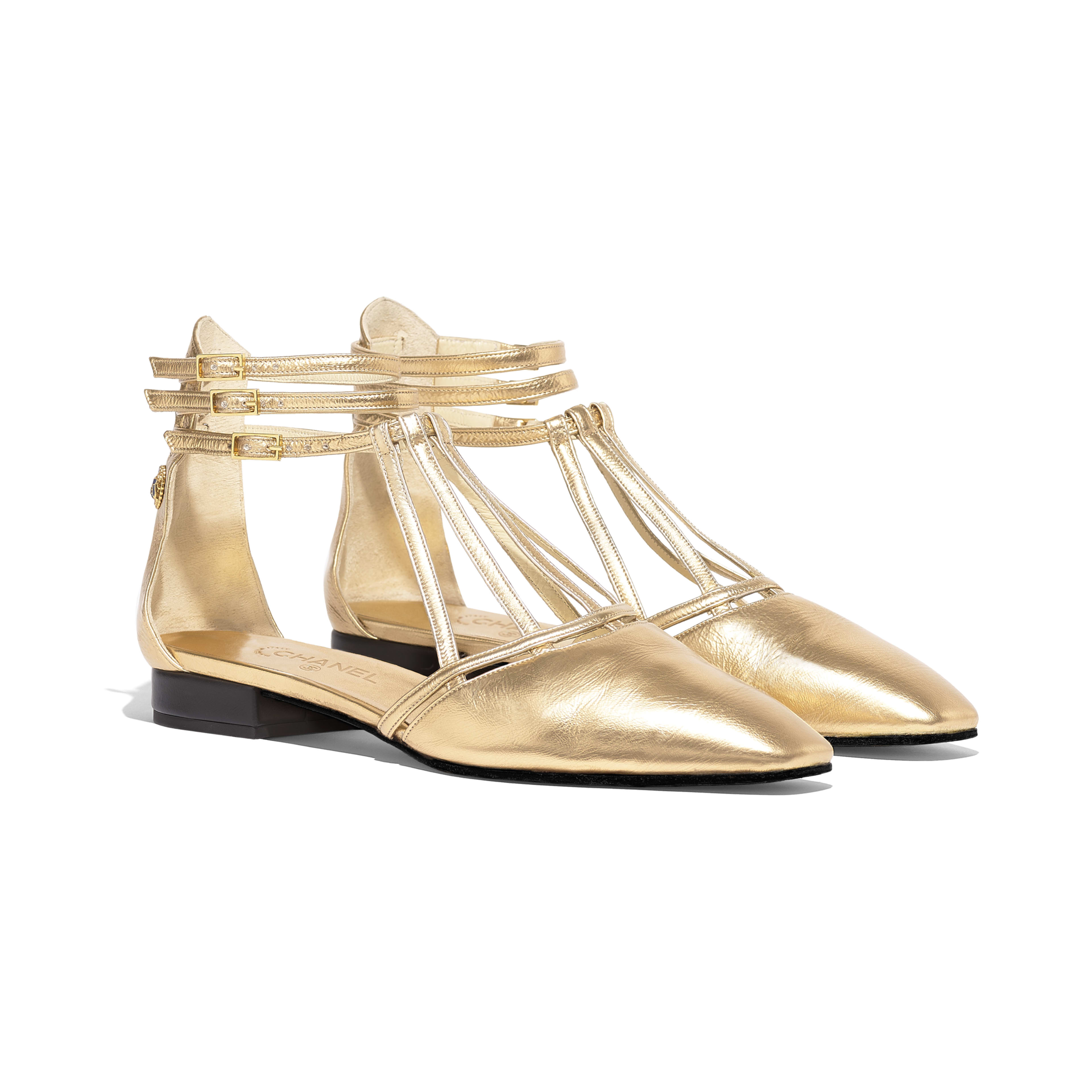 Sandals - Gold - Laminated Lambskin - Alternative view - see full sized version