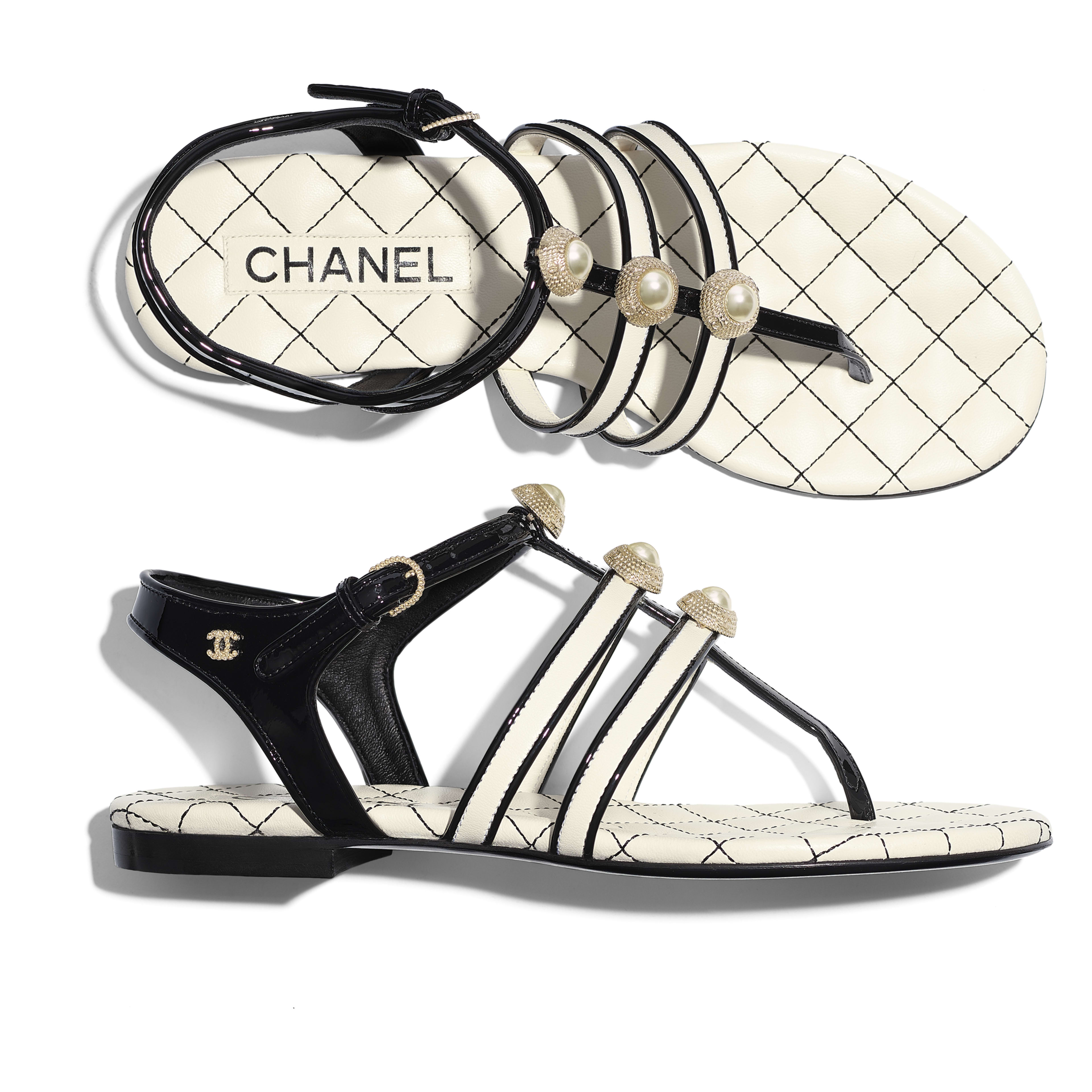Sandals - Ivory & Black - Lambskin, Patent Calfskin & Fantasy Pearls - Extra view - see full sized version