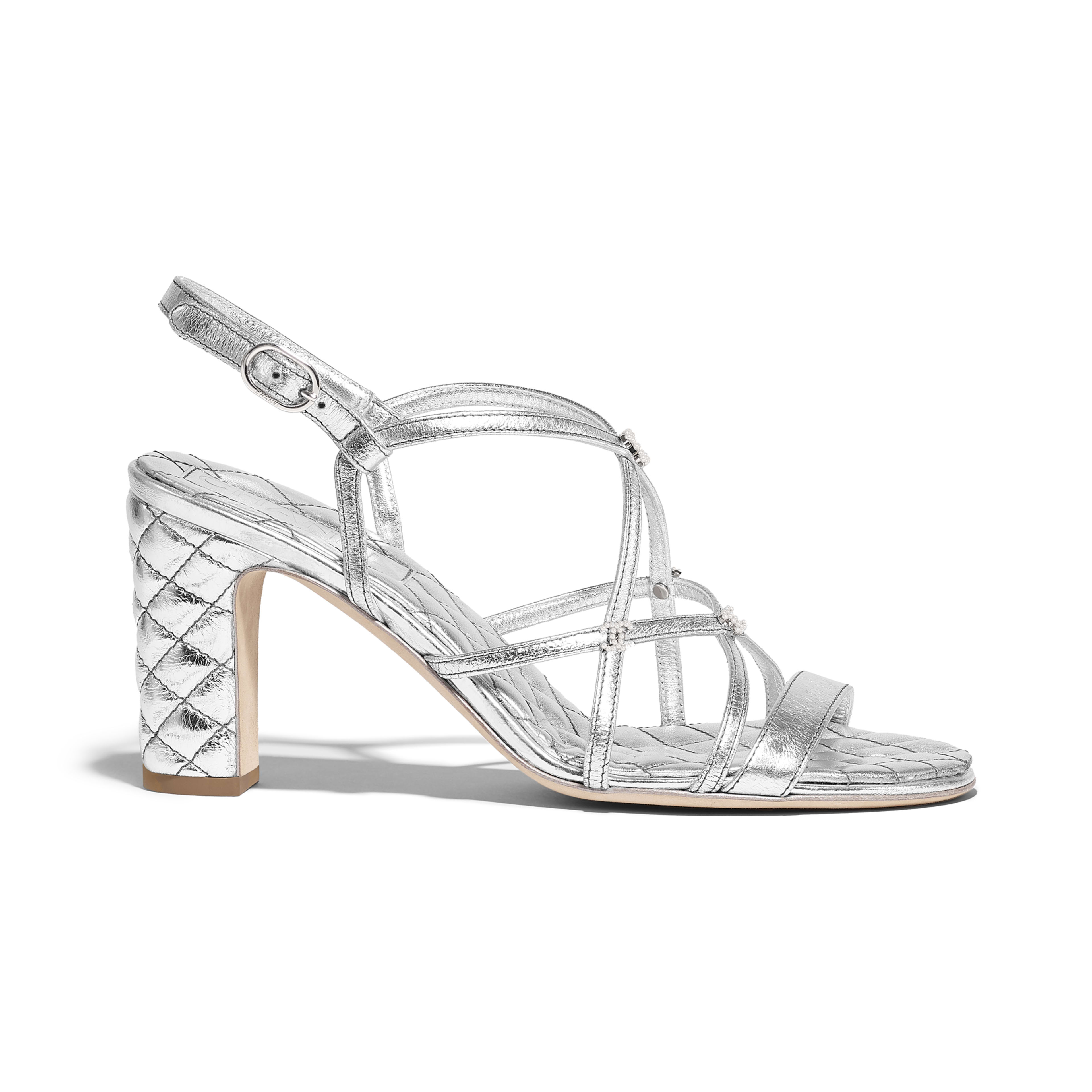 0aa54946fb62 Sandals - Silver - Laminated Lambskin - Default view - see full sized  version ...
