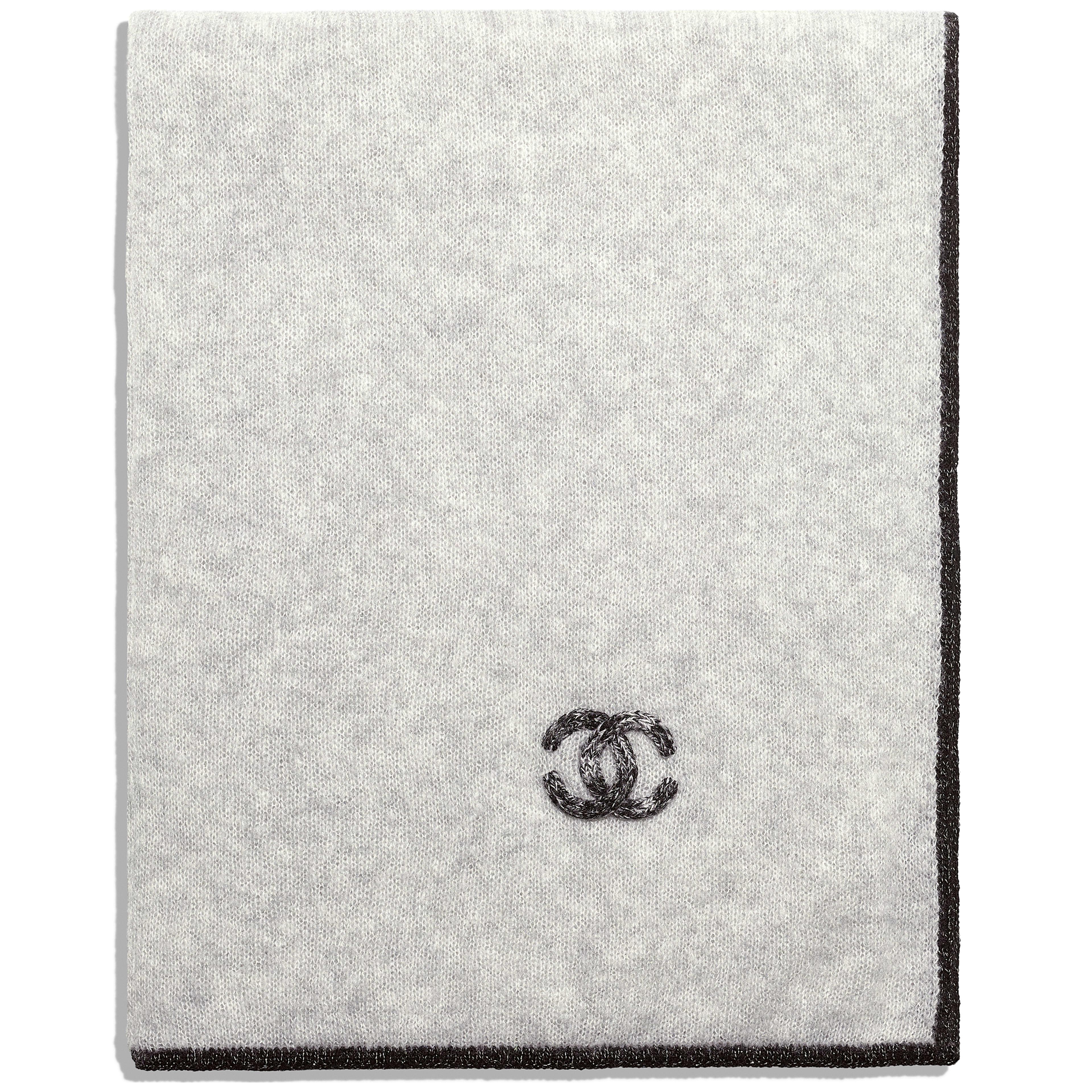 ผ้าพันคอ - สีเทา - ผ้าแคชเมียร์และผ้าไหม - มุมมองทางอื่น - ดูเวอร์ชันขนาดเต็ม