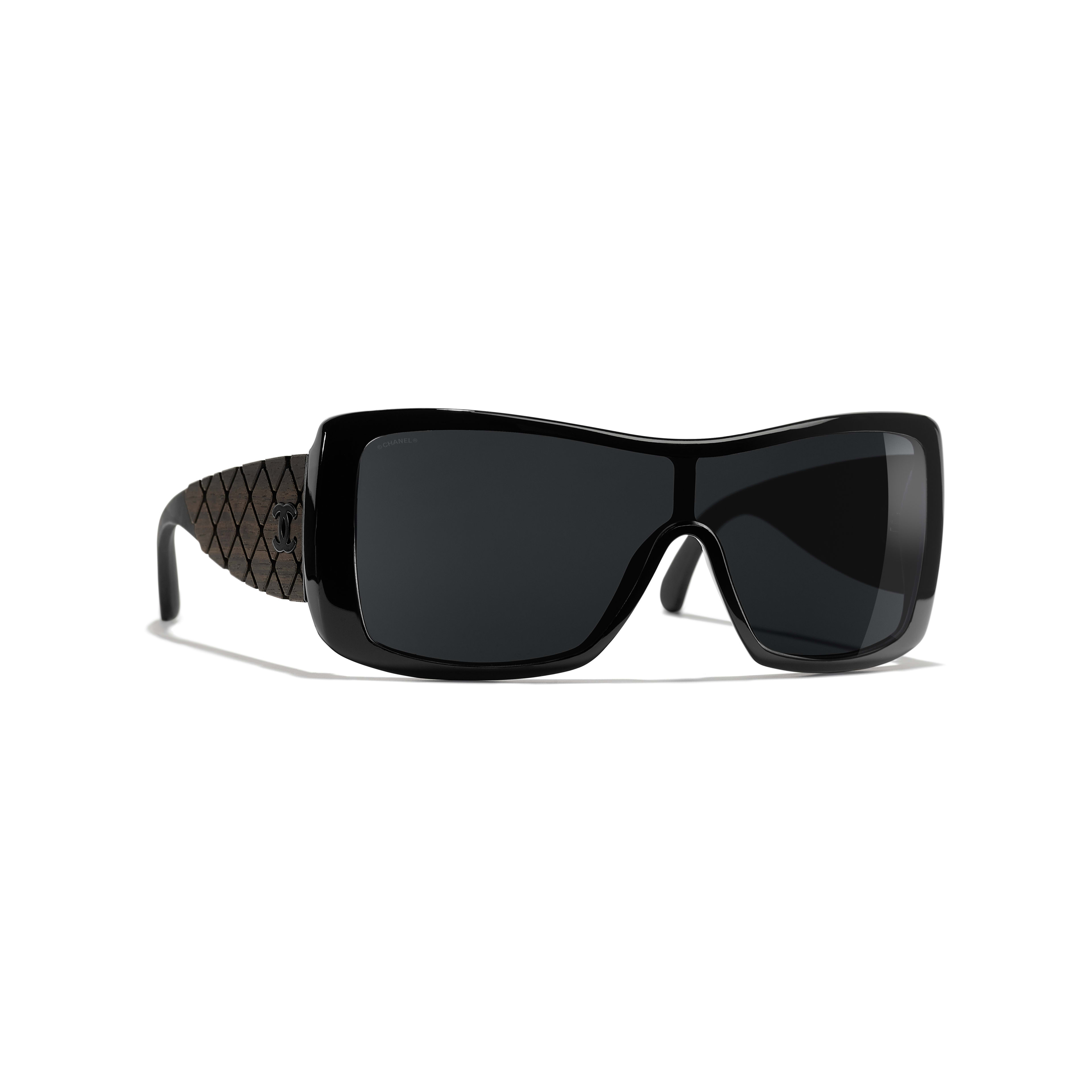 Shield Sunglasses - Black - Acetate, Wood & Rubber - Default view - see full sized version