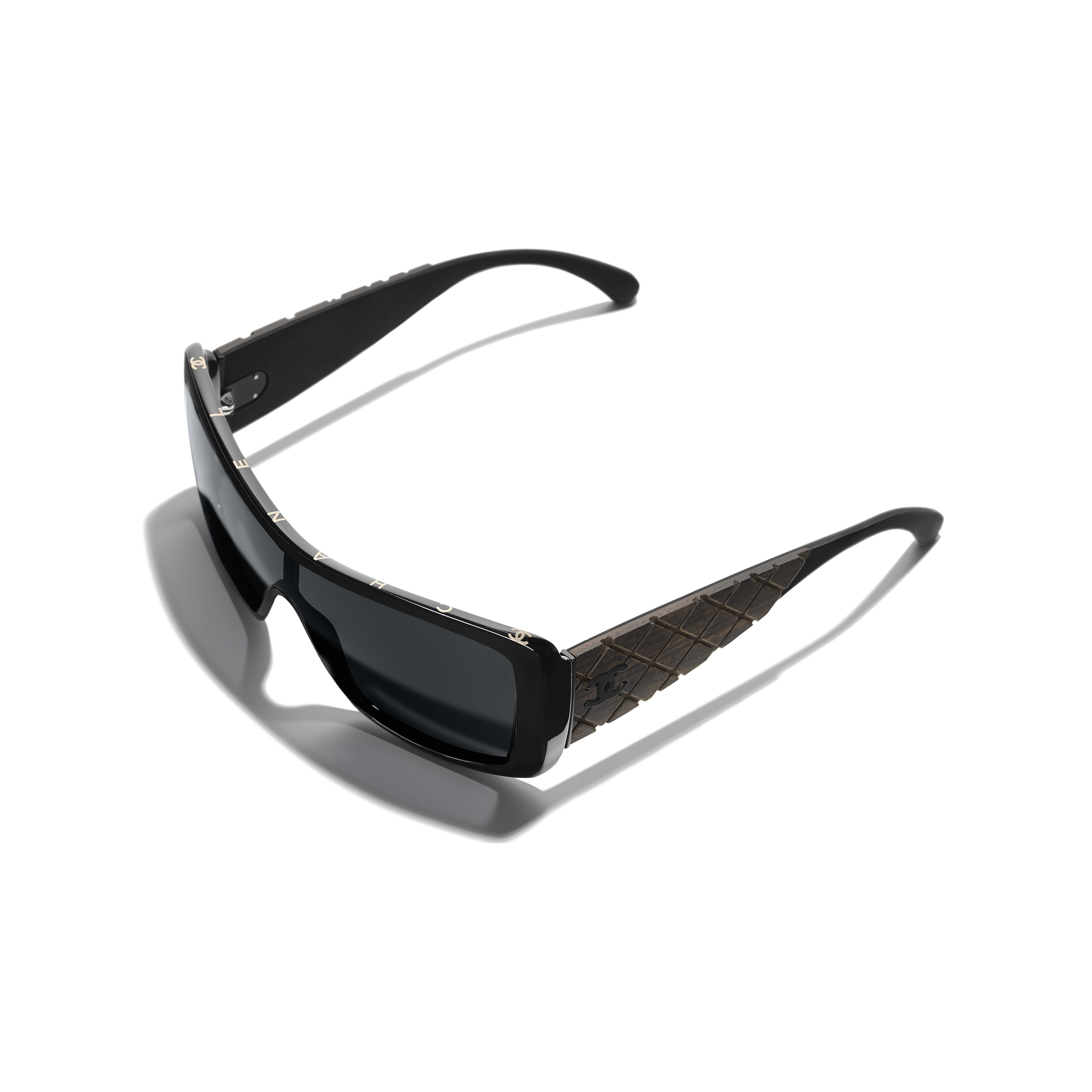 Shield Sunglasses - Black - Acetate, Wood & Rubber - Extra view - see full sized version