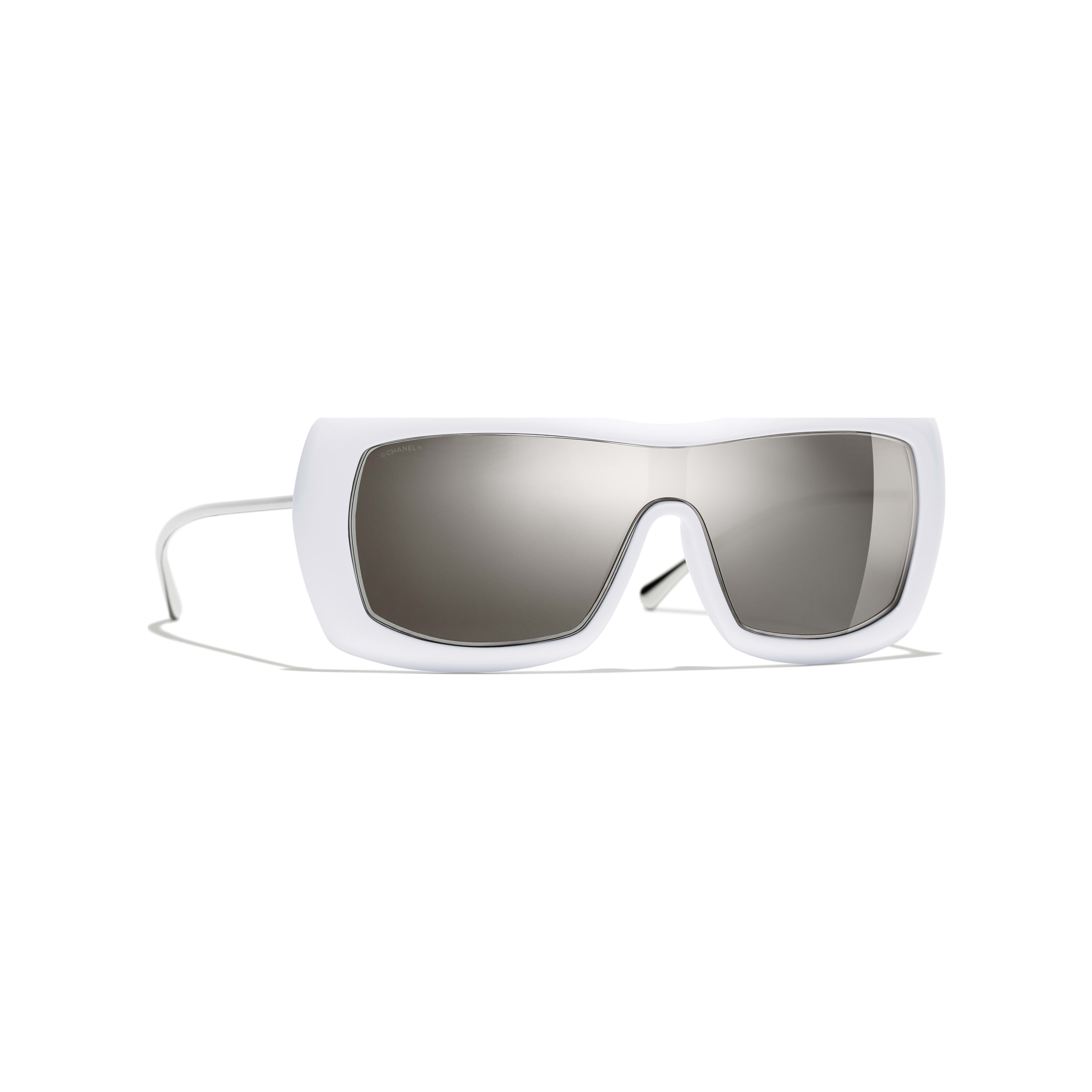 Shield Sunglasses - White - Acetate & Metal - Default view - see full sized version