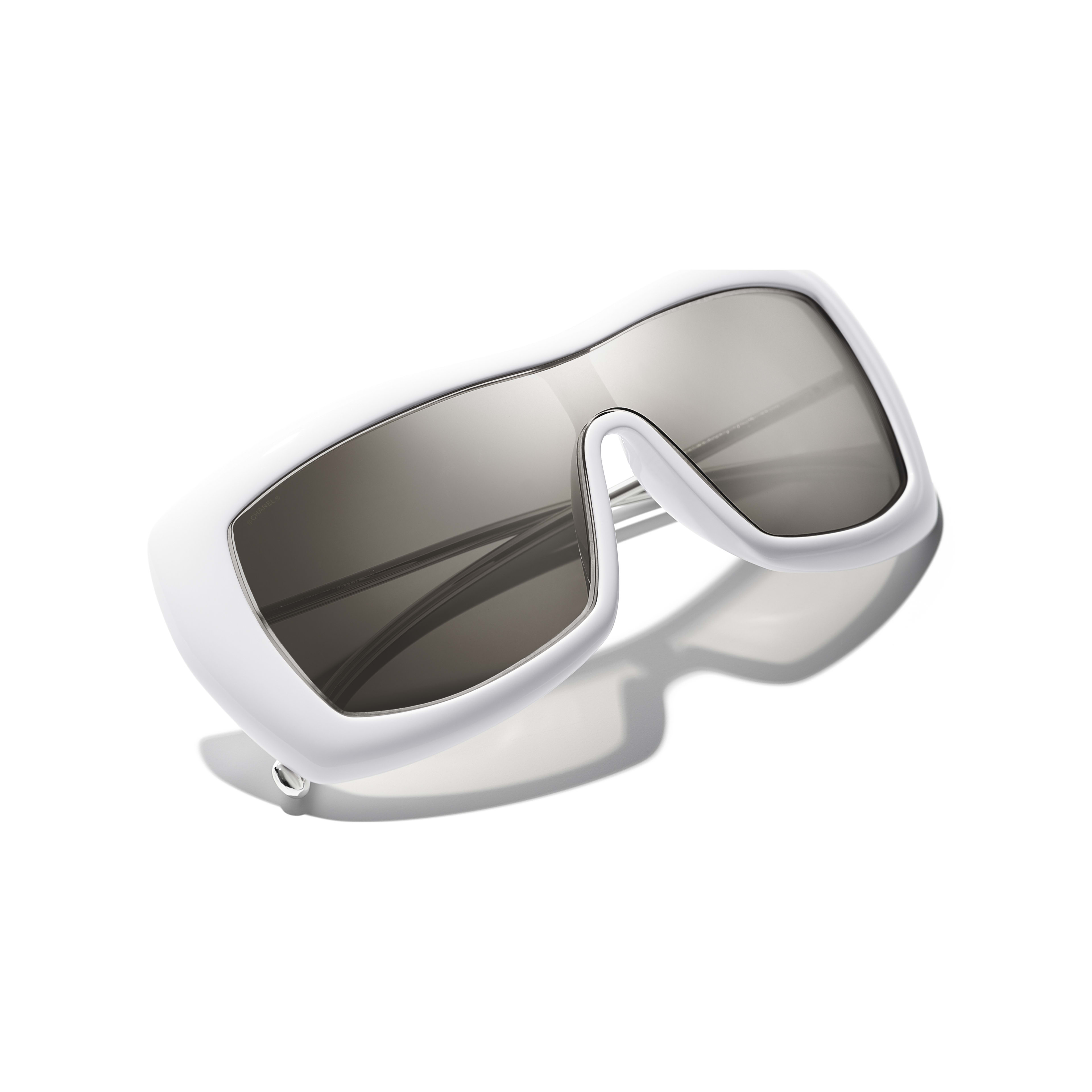 Shield Sunglasses - White - Acetate & Metal - Extra view - see full sized version