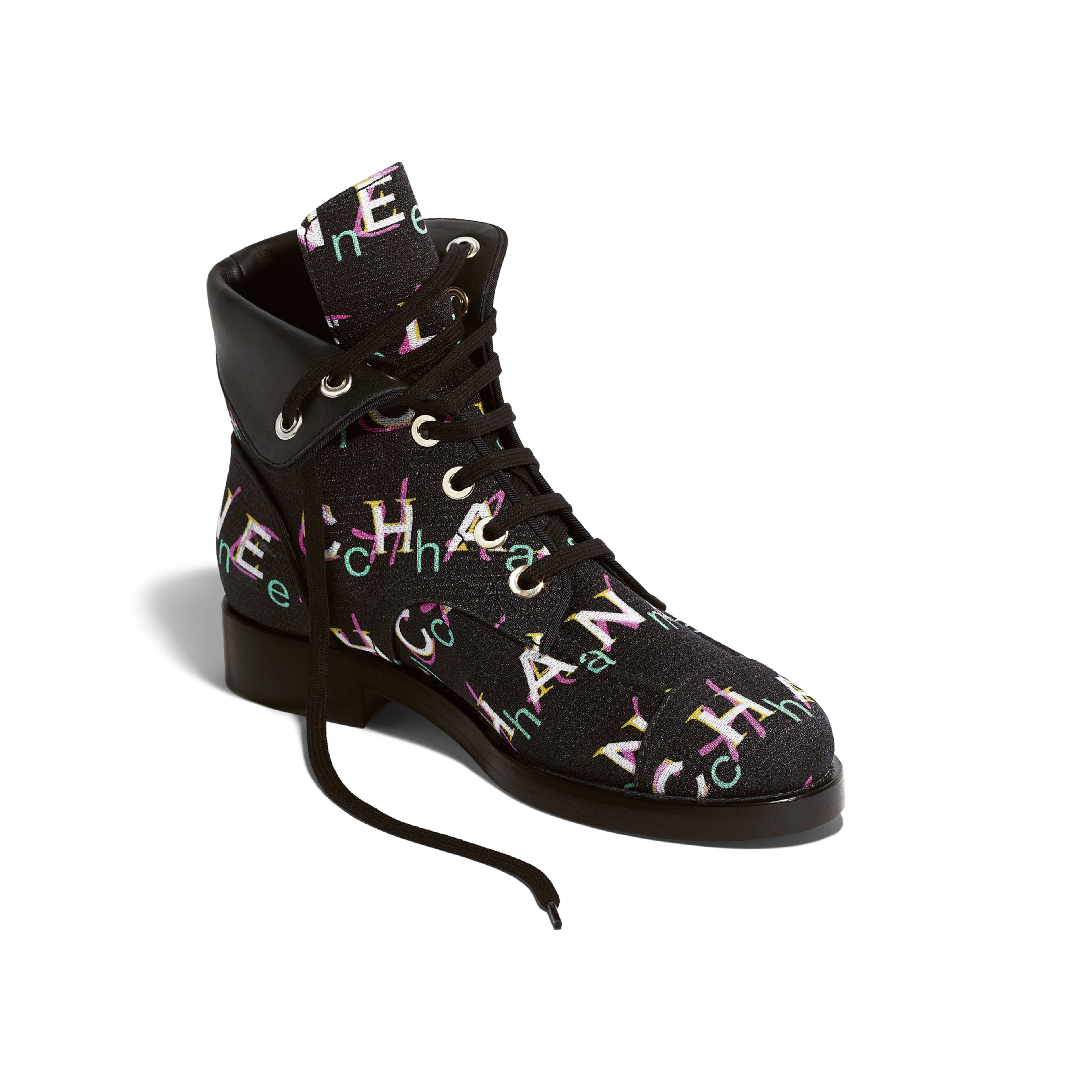 Short Boots - Black & Multicolor - Tweed - Other view - see full sized version