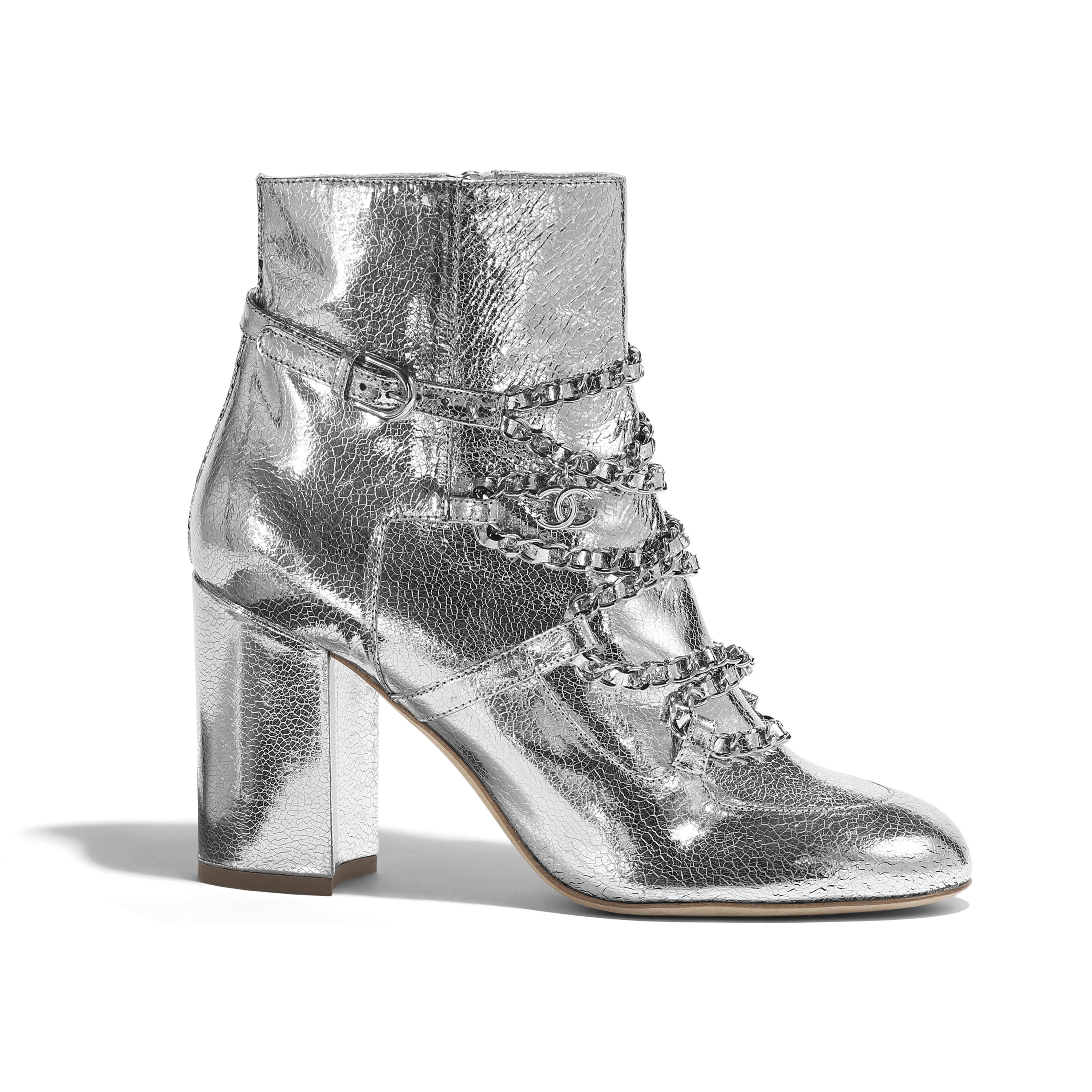 Short Boots - Silver - Laminated Goatskin - Default view - see full sized version