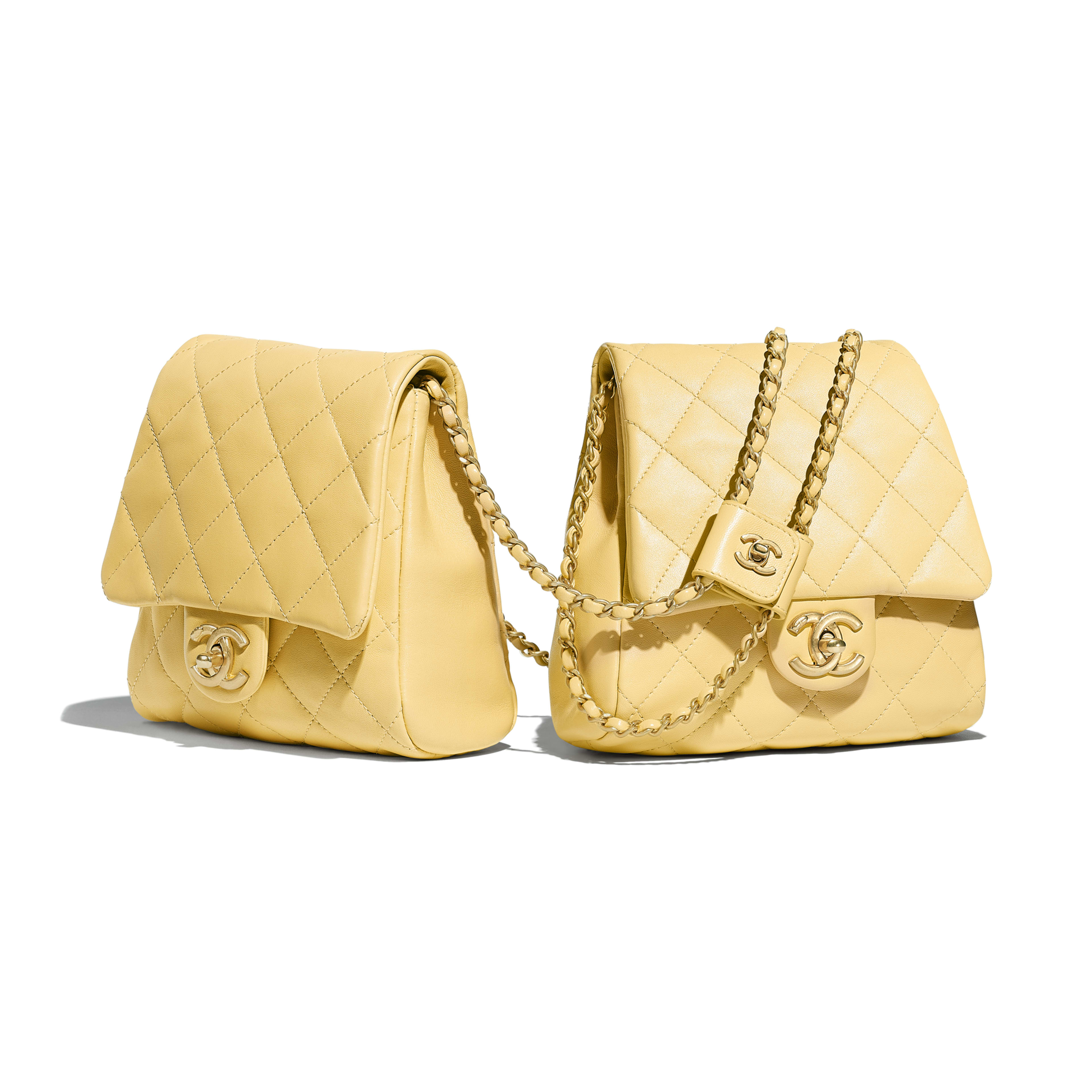 Side-Packs - Yellow - Lambskin & Gold-Tone Metal - Alternative view - see full sized version