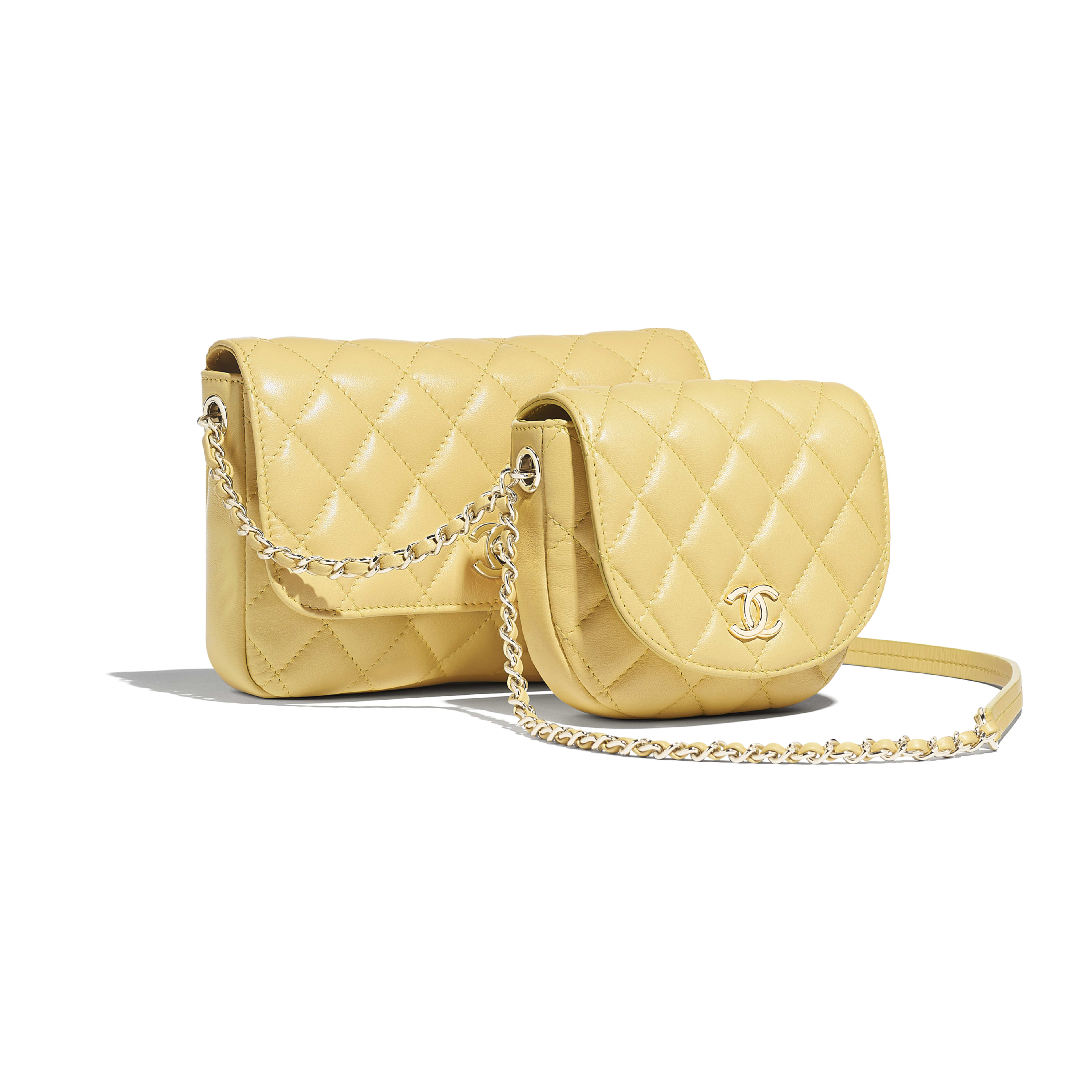 Side-Packs - Yellow - Lambskin & Gold-Tone Metal - Default view - see full sized version