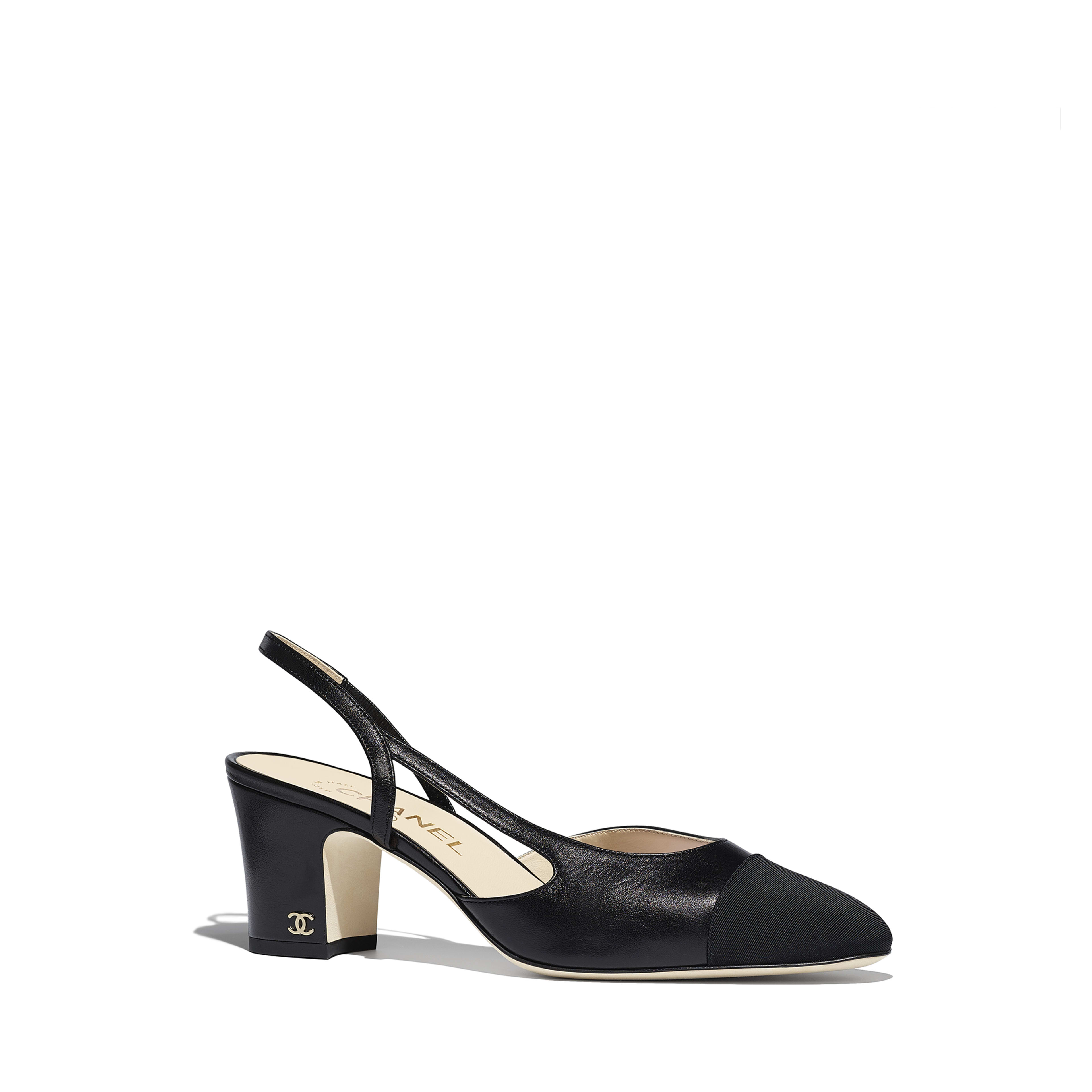Slingbacks - Black - Goatskin & Grosgrain - Alternative view - see full sized version