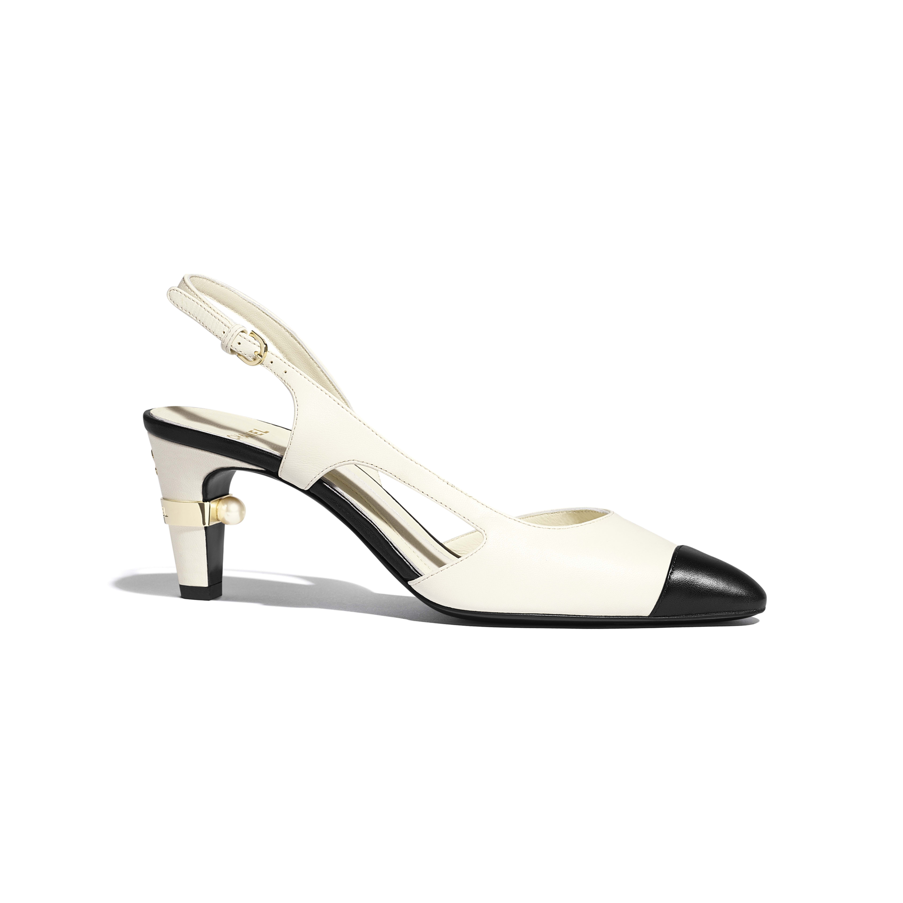 Sling-Back - Ivory & Black - Lambskin - Default view - see full sized version