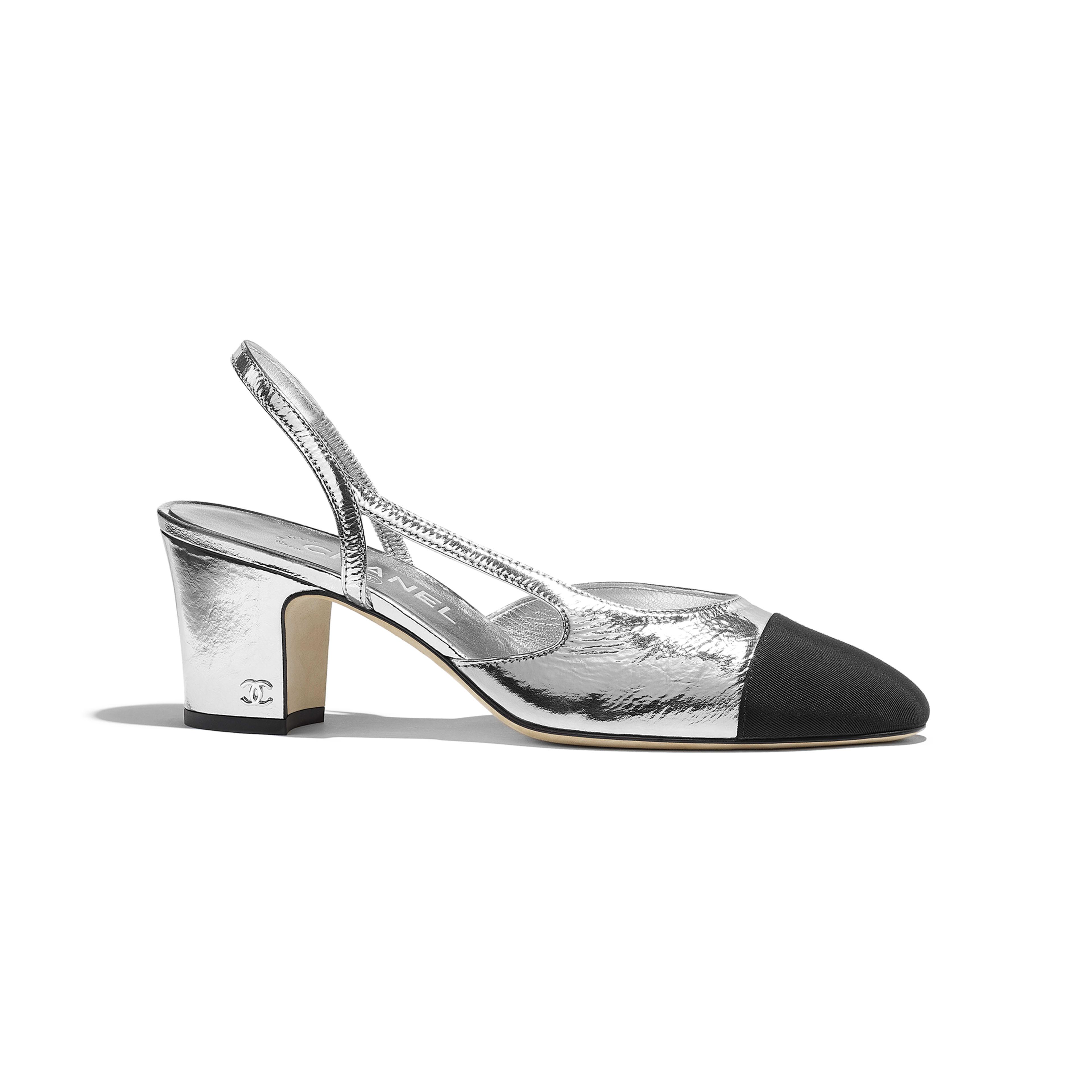 Slingbacks - Silver   Black - Metallic Goatskin   Grosgrain - Default view  - see full ...