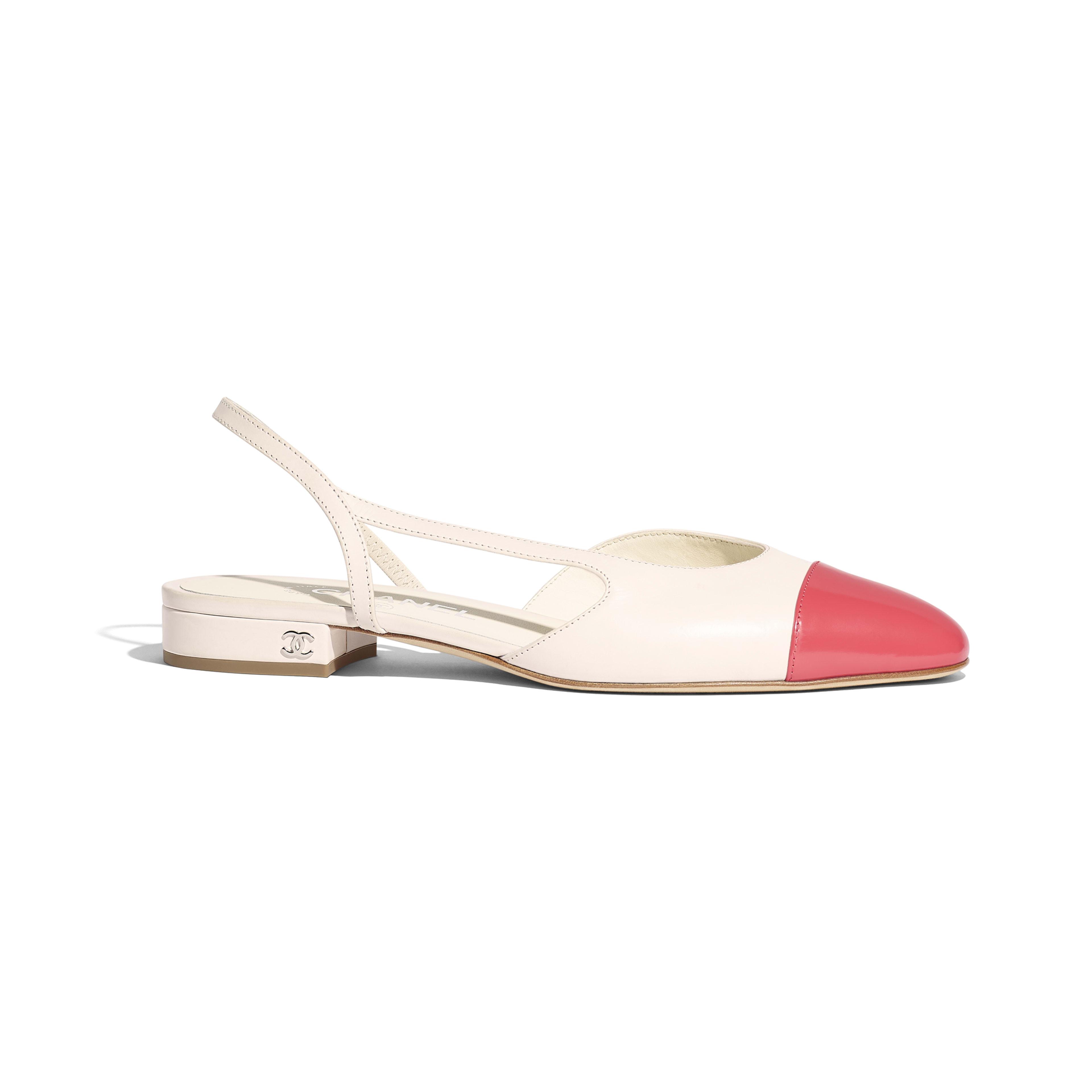Slingbacks - White & Red - Calfskin & Glazed Calfskin - Default view - see full sized version