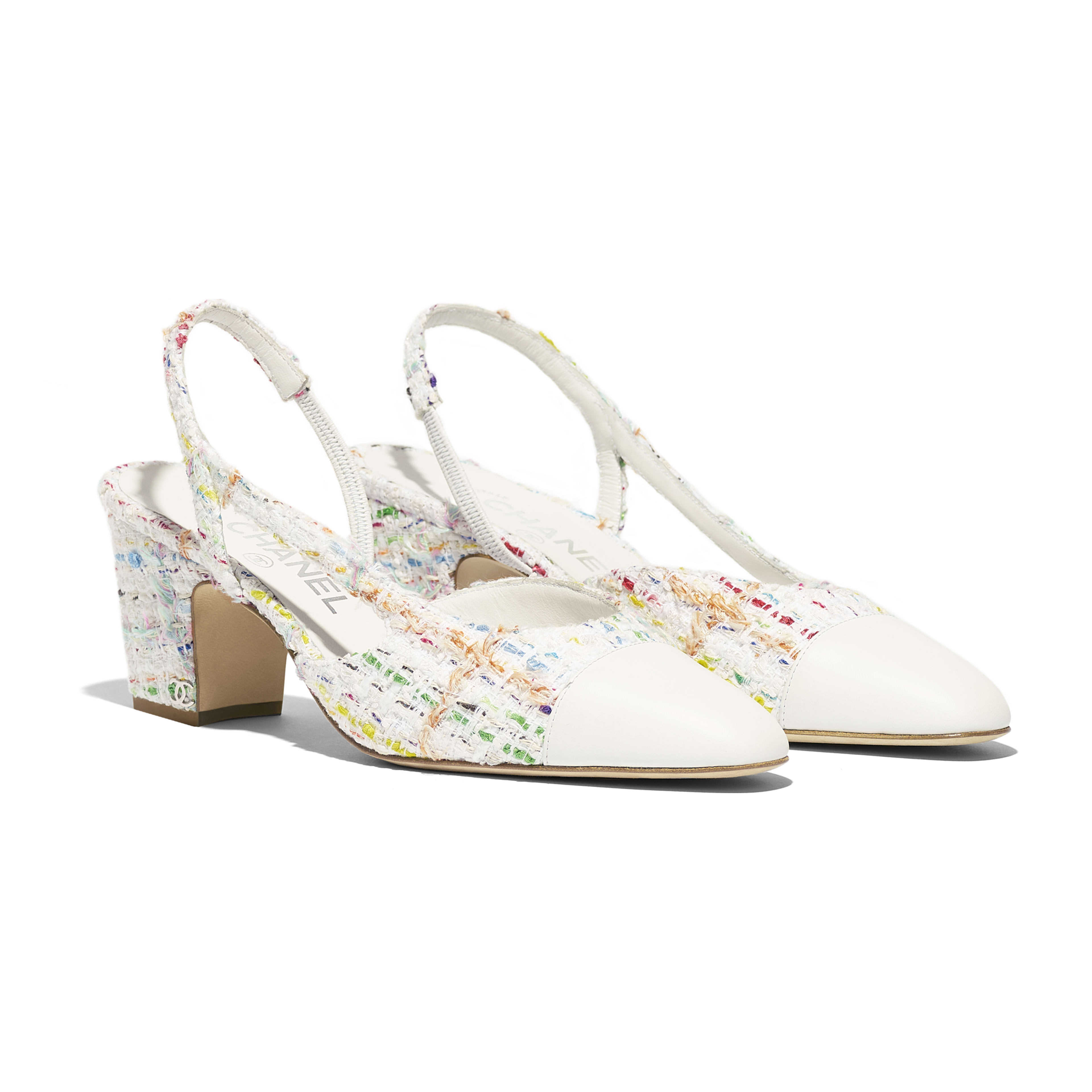 Slingbacks - White, Yellow, Blue & Green - Tweed & Lambskin - Alternative view - see full sized version