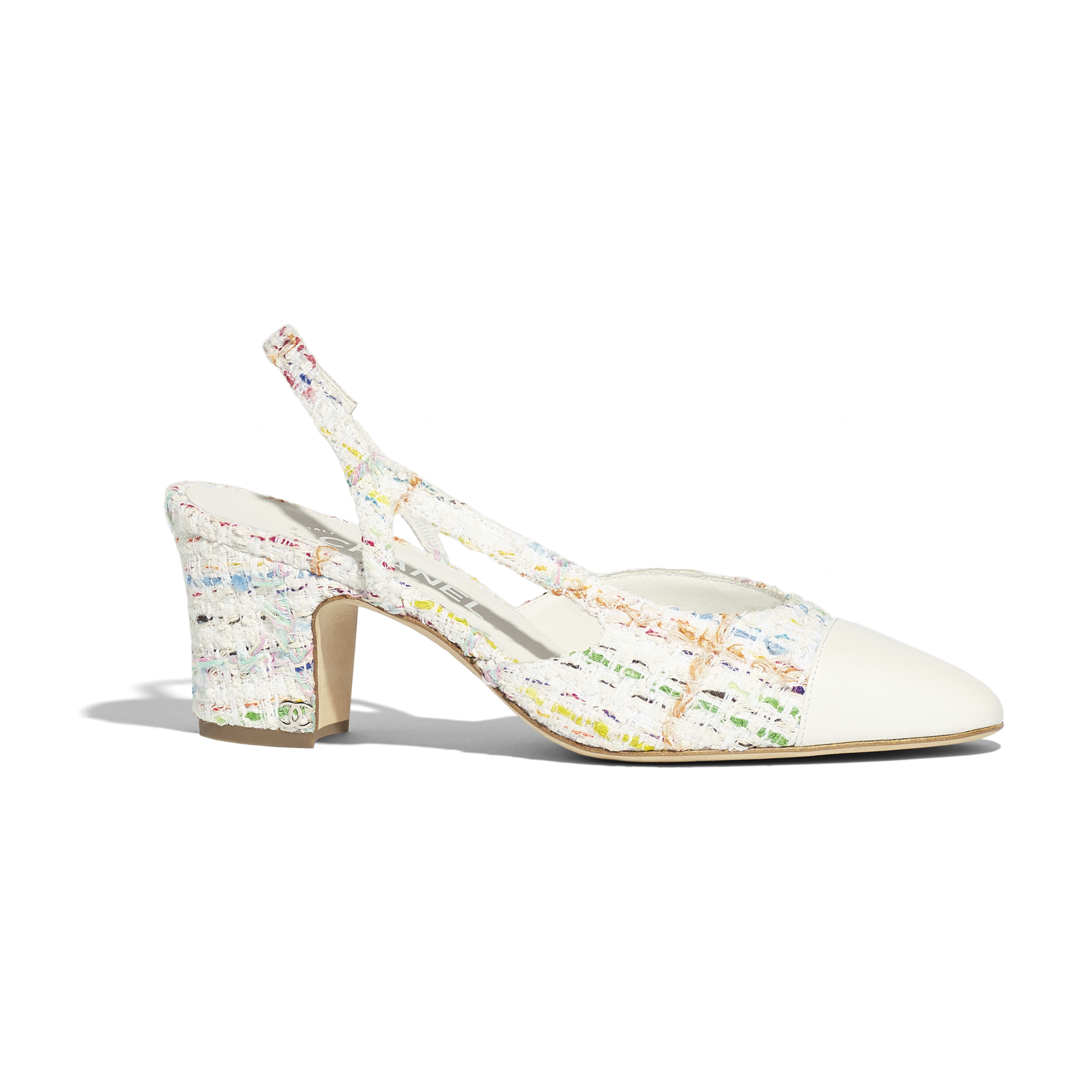 Slingbacks - White, Yellow, Blue & Green - Tweed & Lambskin - Default view - see full sized version
