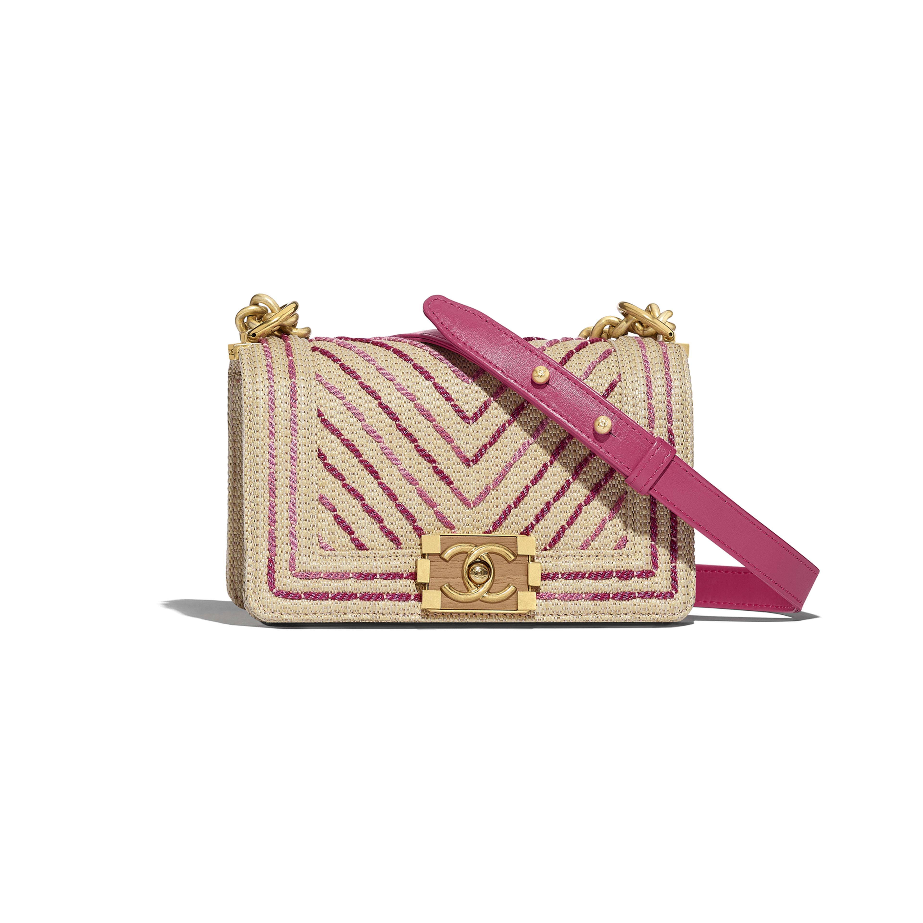 Small BOY CHANEL Handbag - Beige & Pink - Cotton, Mixed Fibers, Calfskin & Gold-Tone Metal - Default view - see full sized version